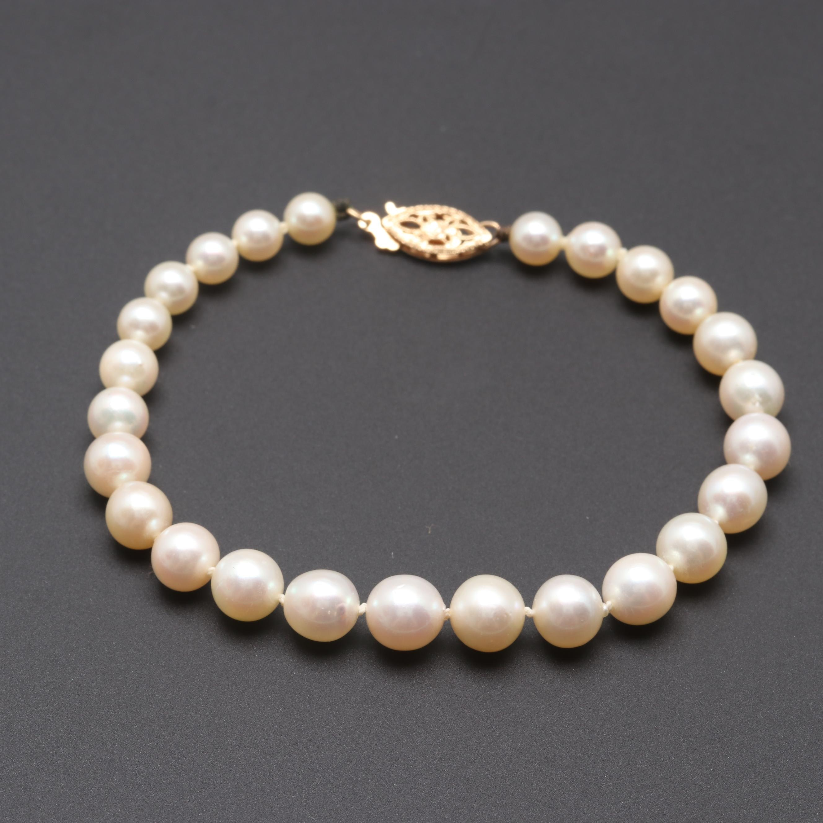 14K Yellow Gold Cultured Pearl Beaded Bracelet