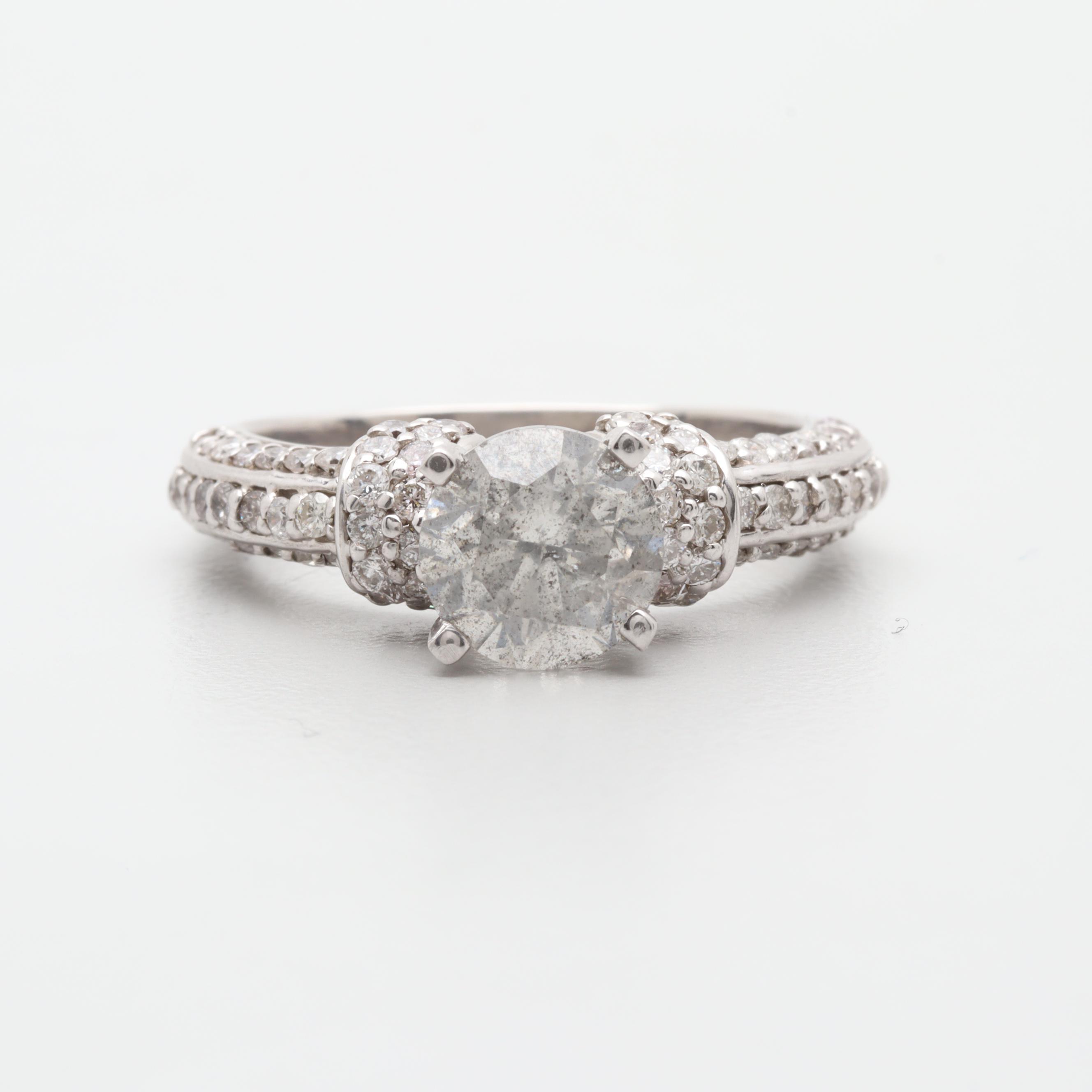 10K and 14K White Gold 2.38 CTW Diamond Ring