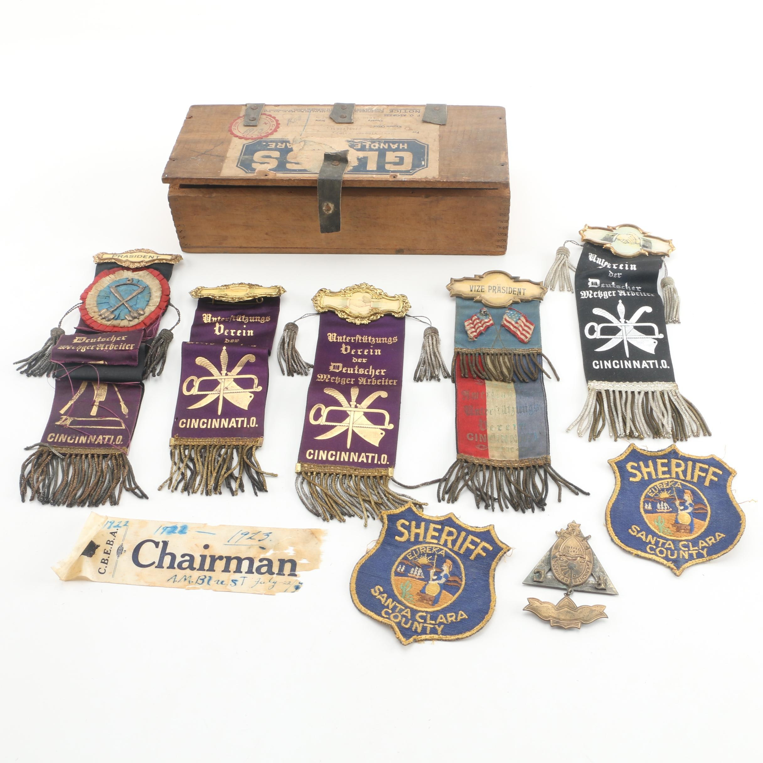 Near Antique Cincinnati German Support Society Ribbons and More