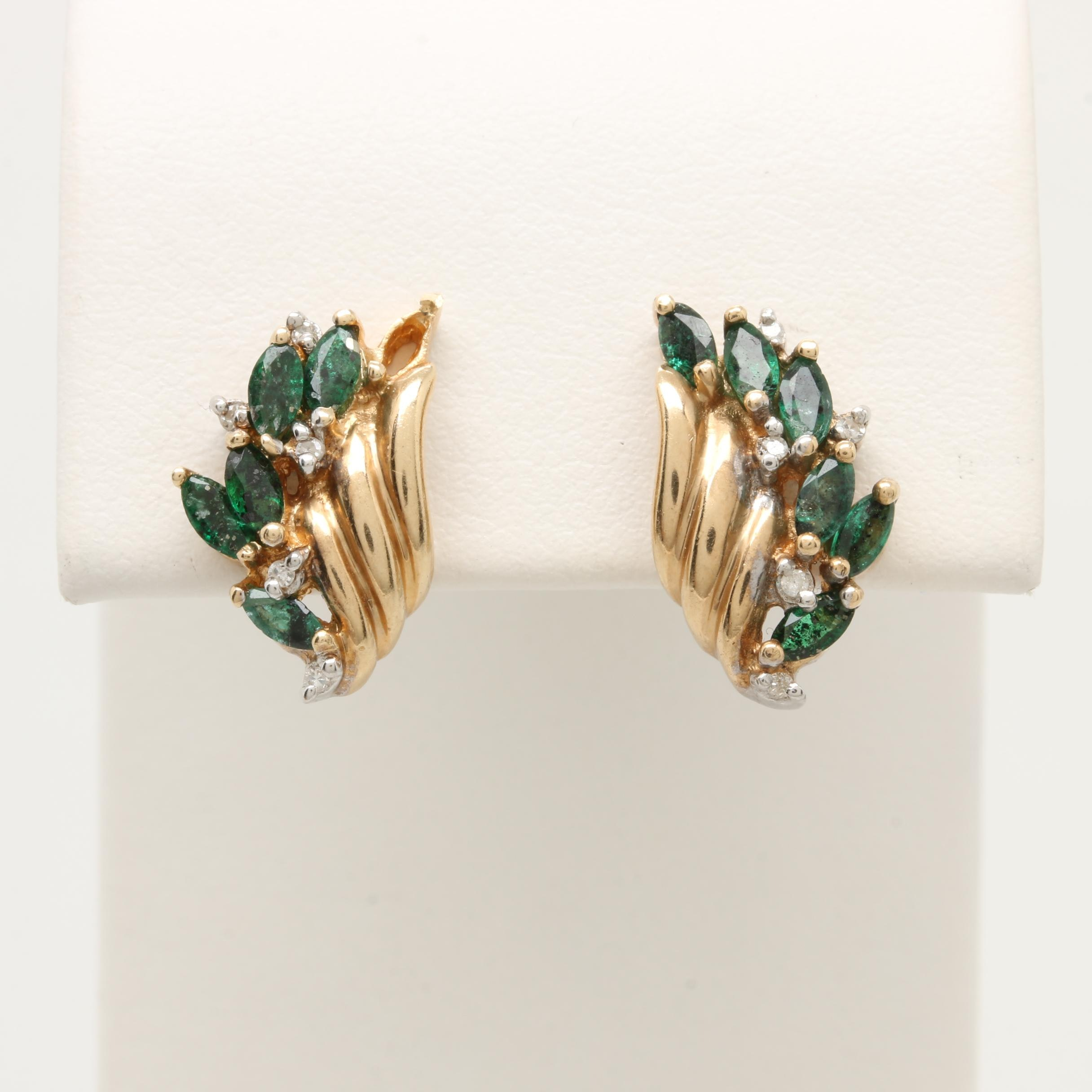 10K Yellow Gold Emerald and Diamond Earrings