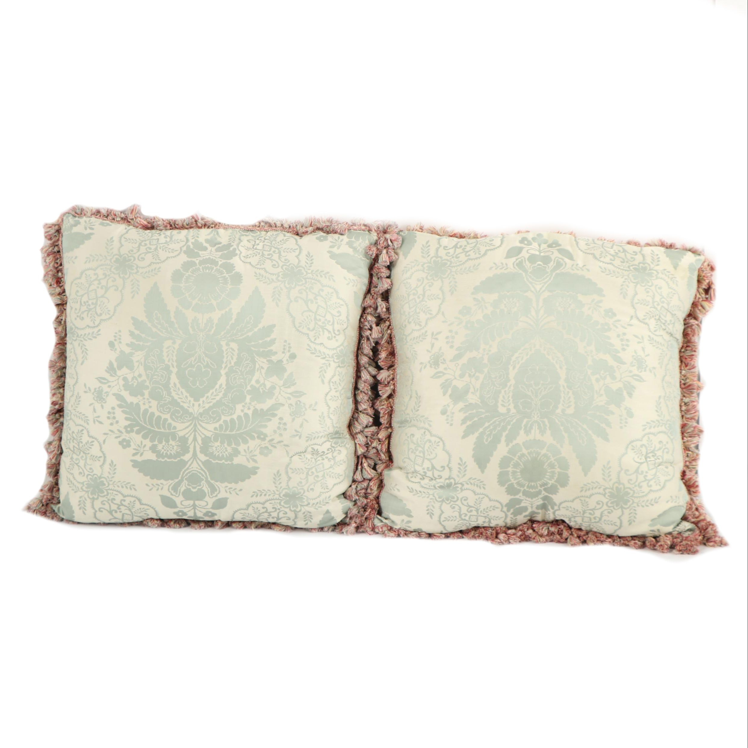 Damask and Moire Throw Pillows with Fringe