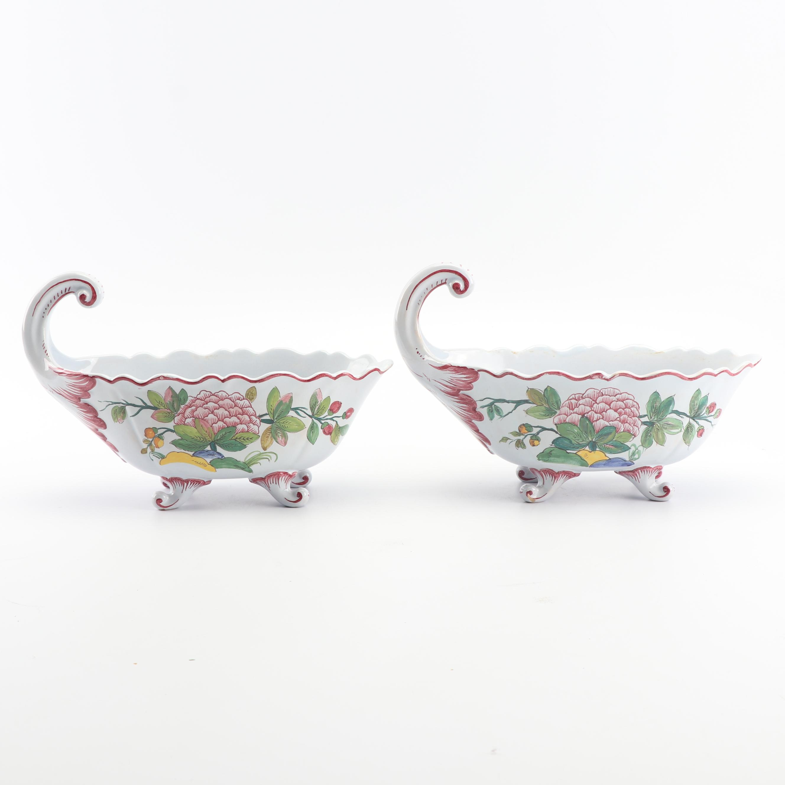 Italian Hand-Painted Ceramic Faience Sauce Boats with Handles