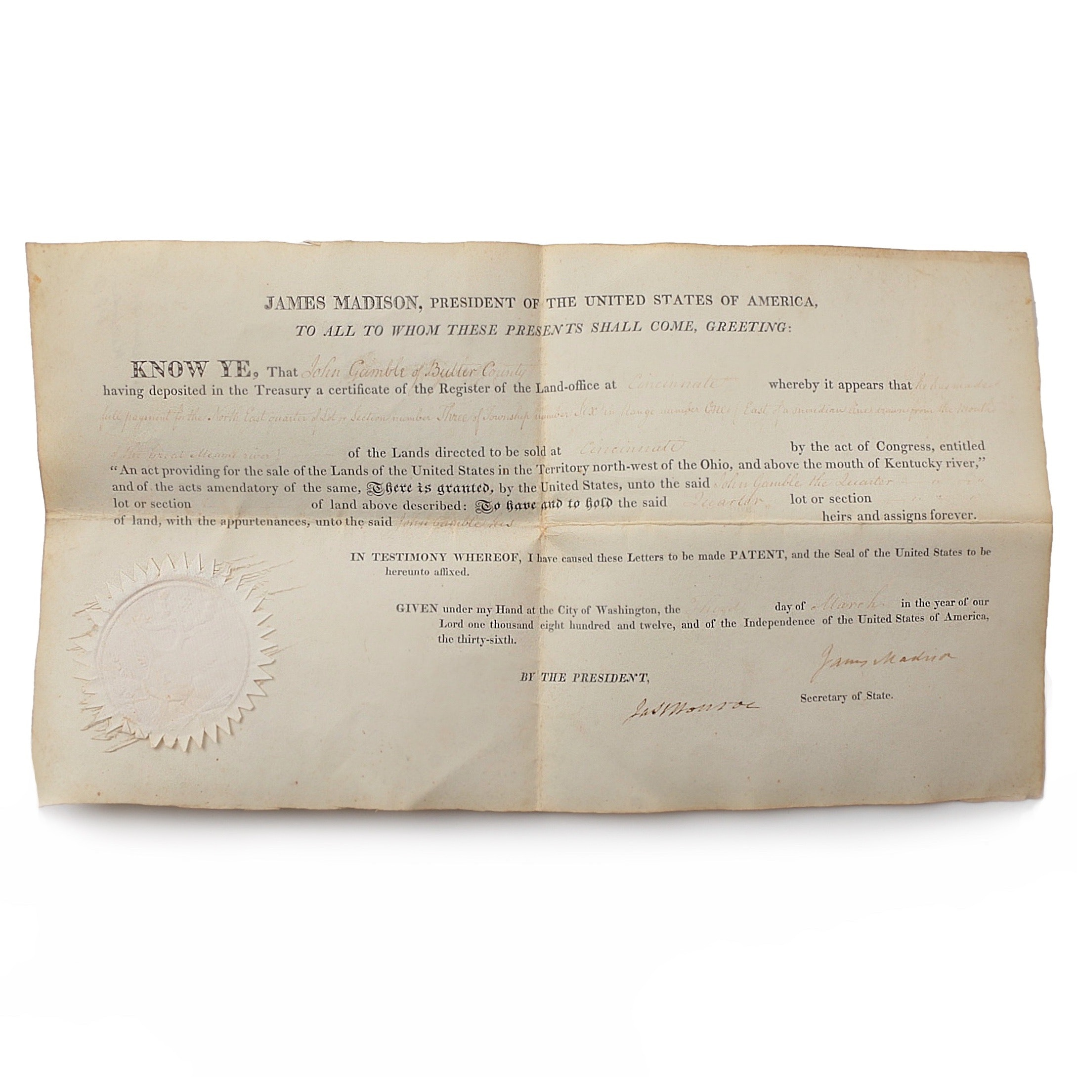James Madison and James Monroe Land Grant Document Signed March 3, 1812