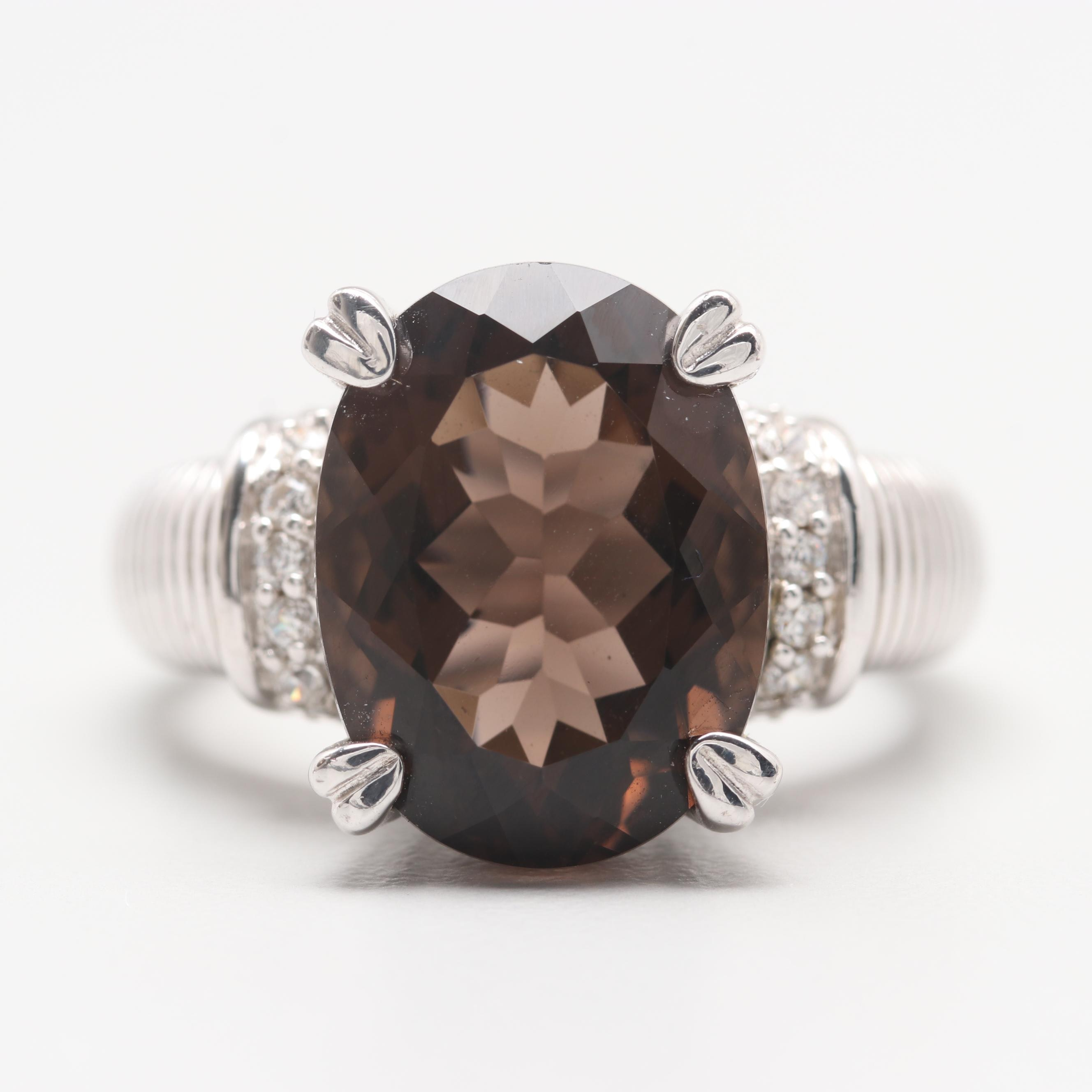Judith Ripka Sterling Silver Smoky Quartz and Cubic Zirconia Ring