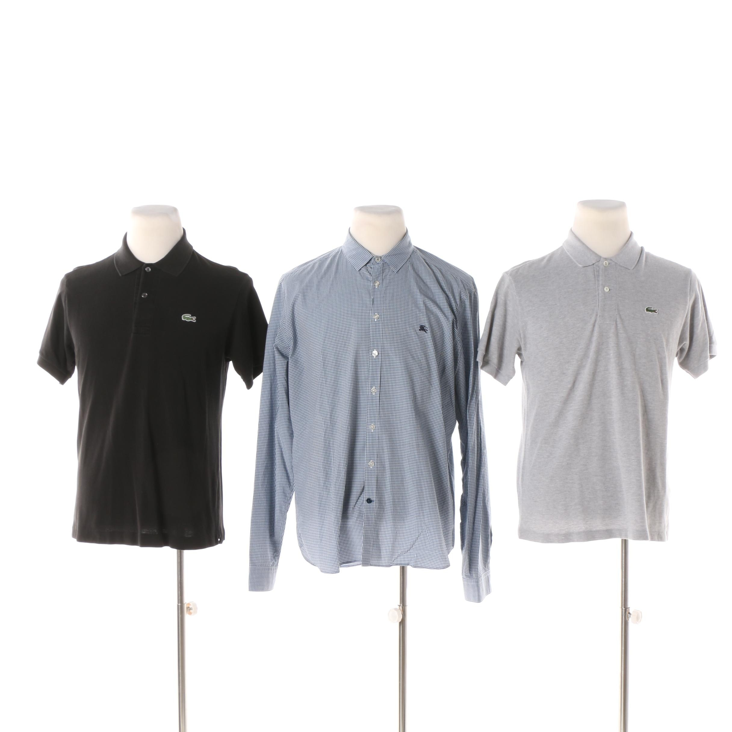 Men's Polo and Button-Front Shirts including Lacoste and Burberry Brit