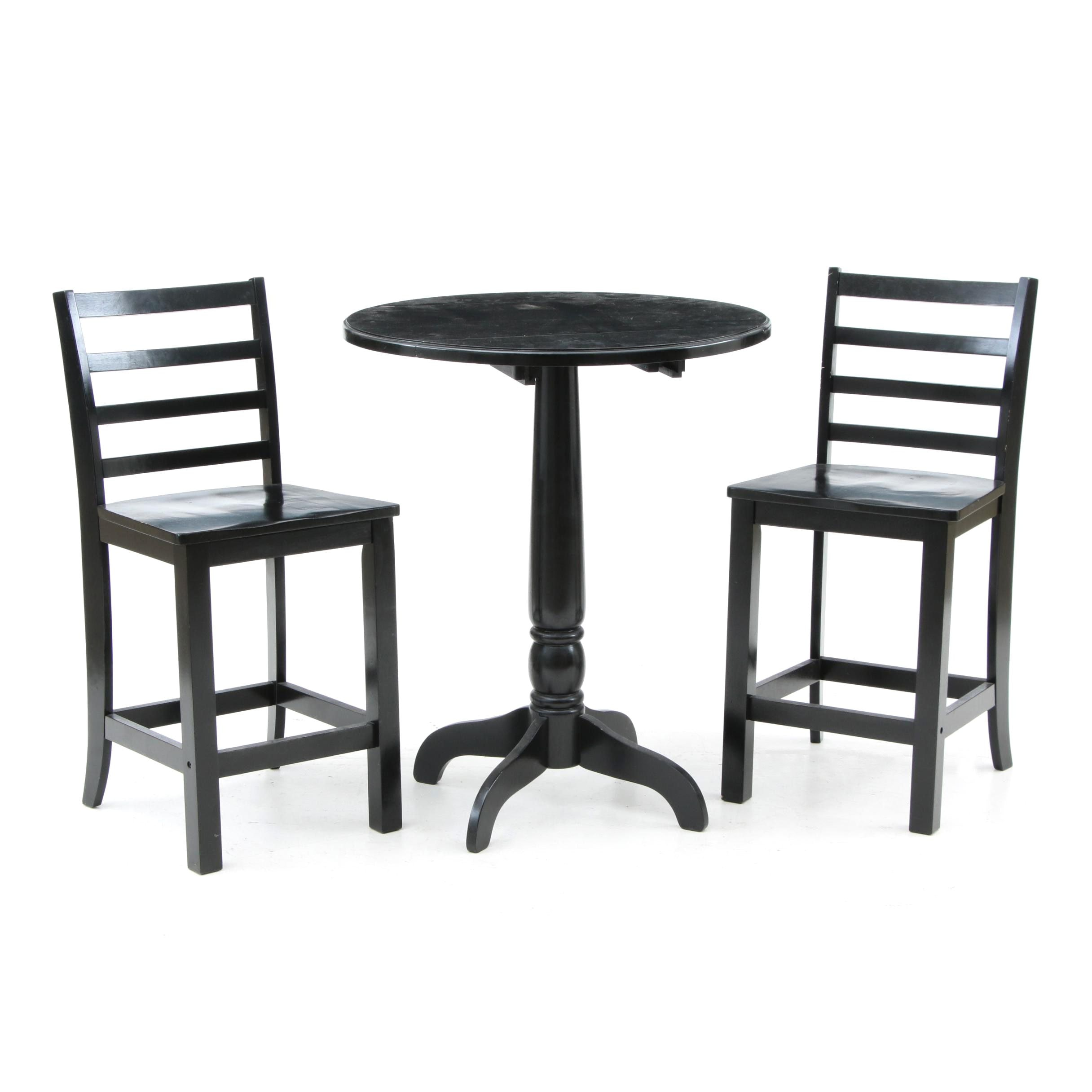 Drop Leaf Bar Height Table and Chairs in Black