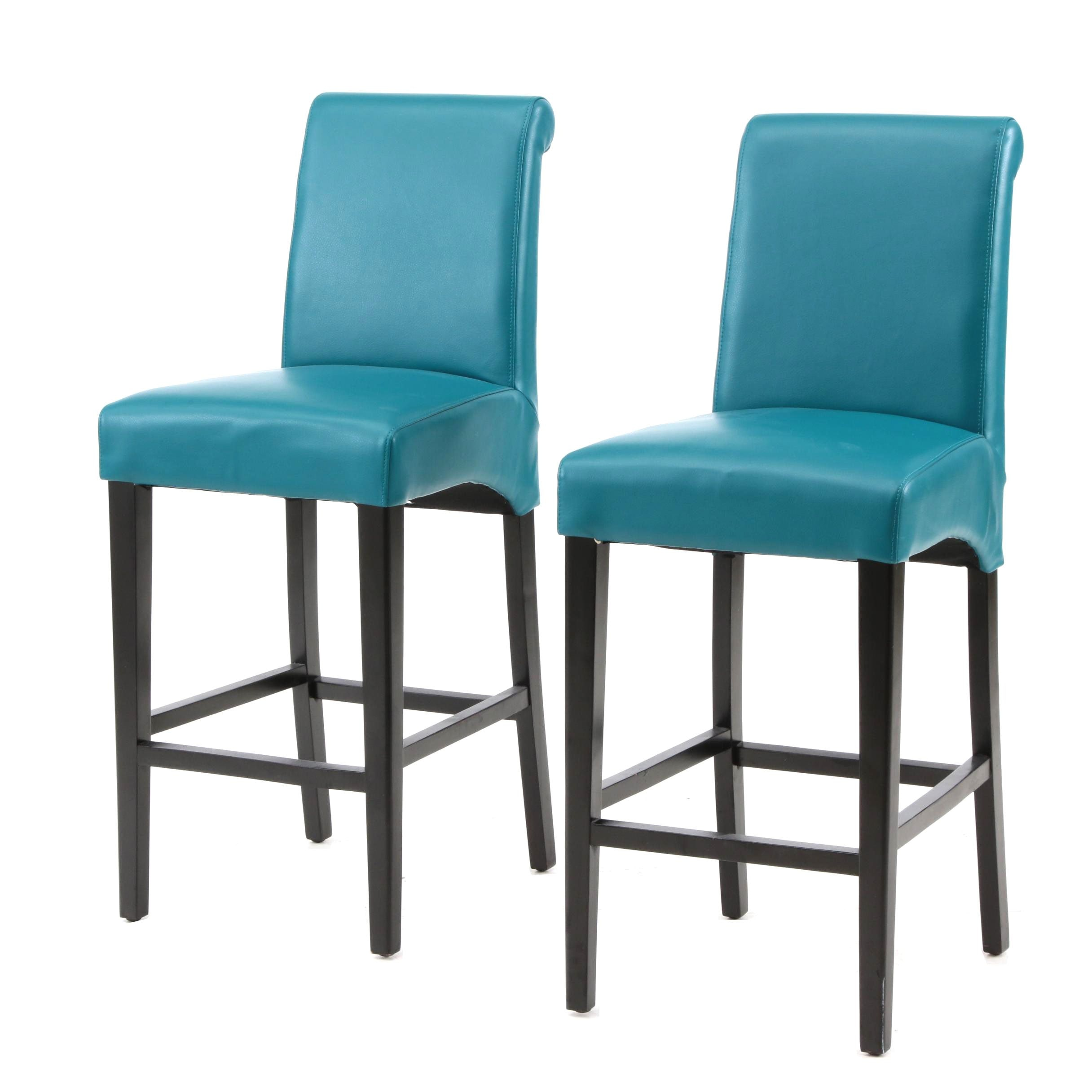 Counter Height Upholstered Bar Stools in Blue