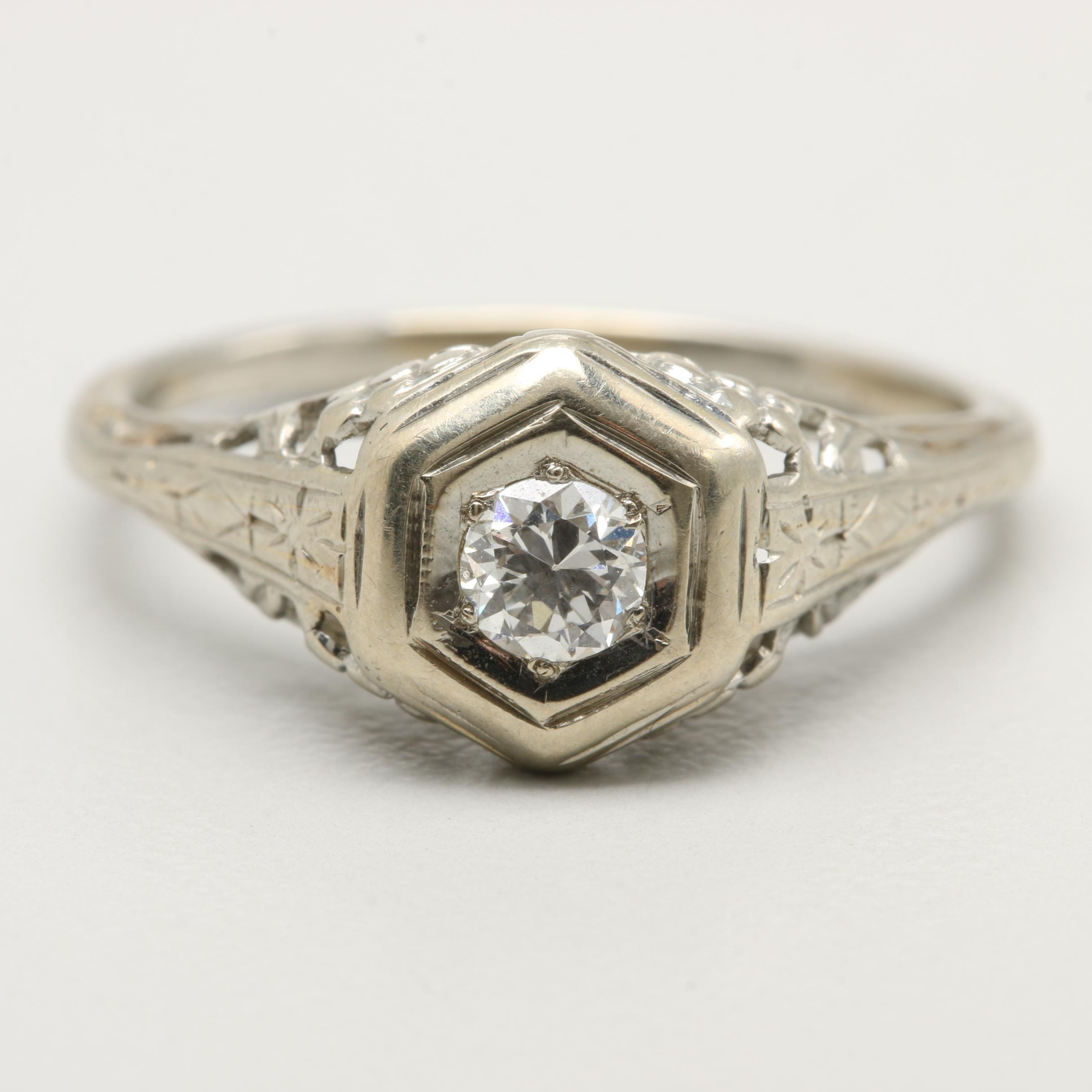 Circa 1920s - 1930s 10K White Gold Diamond Ring