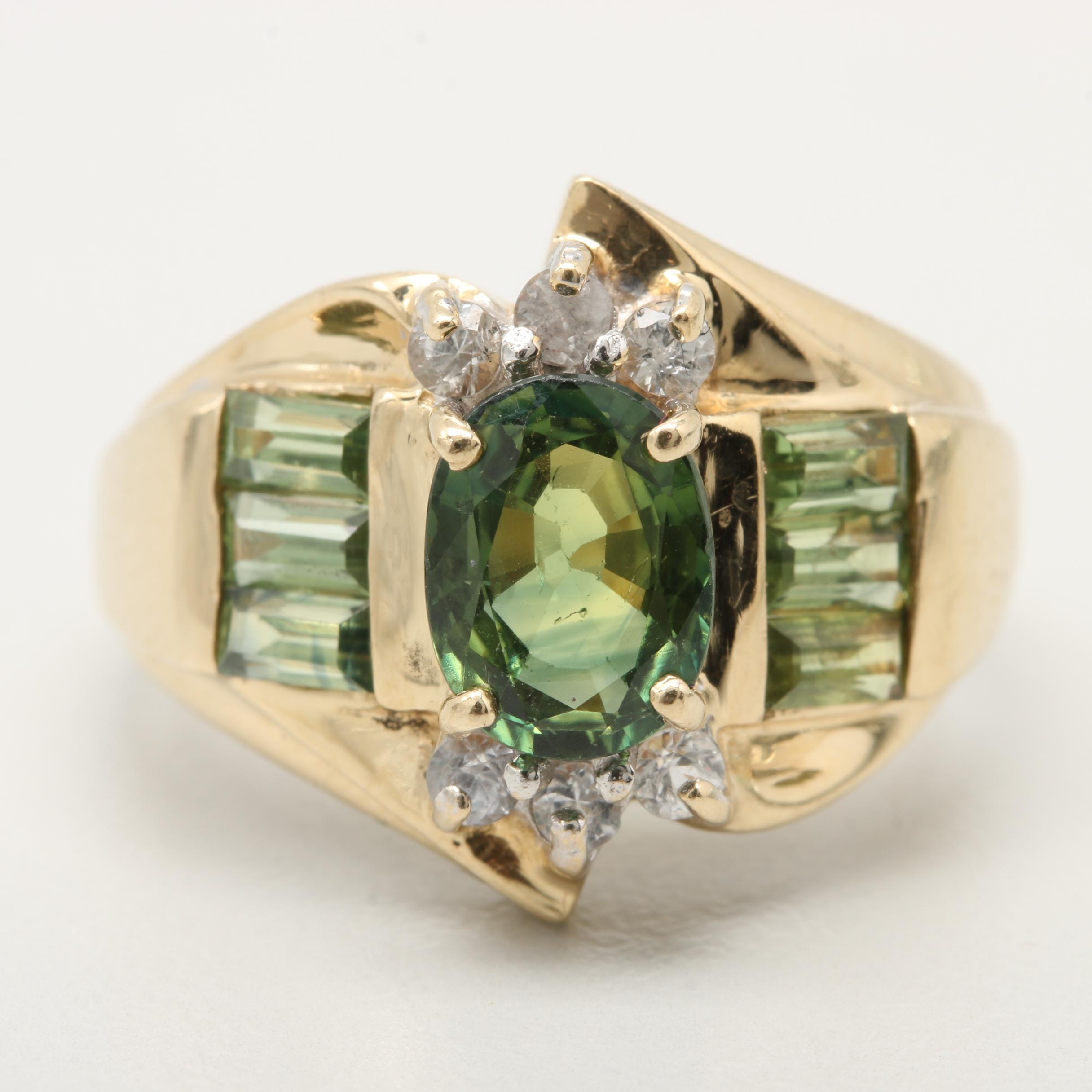 14K Yellow Gold Green Sapphire and White Sapphire Ring