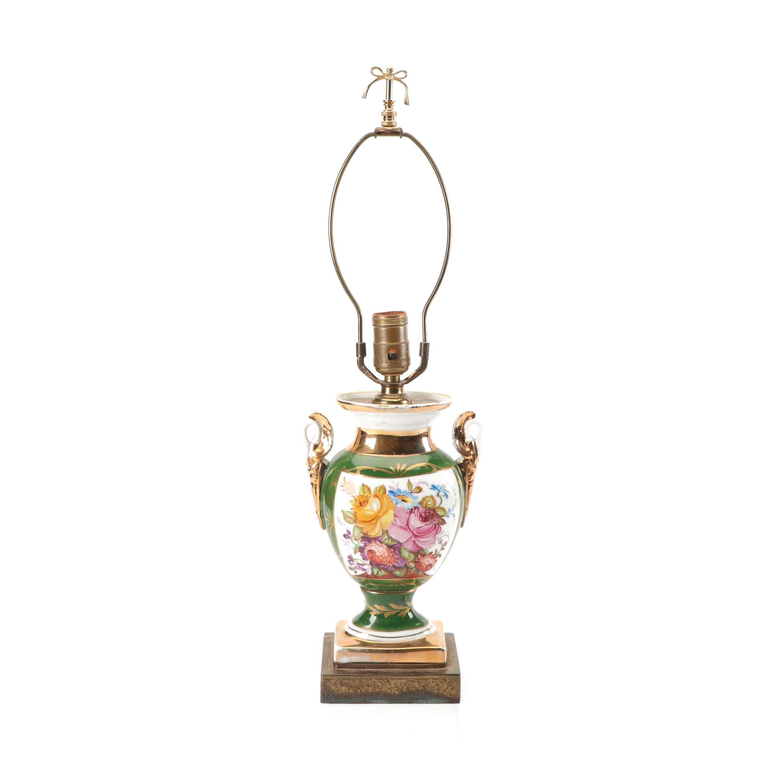 Sevres-Style Hand-Painted Floral Themed Mounted Porcelain Urn Lamp