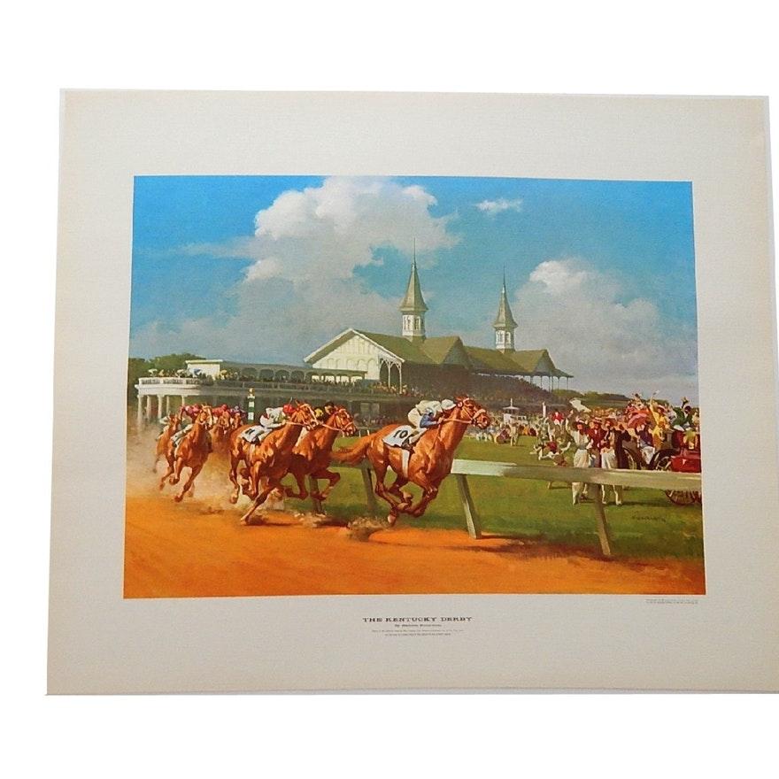 """Unframed 1963 Haddon Sundblom Offset Lithograph Print """"The Kentucky Derby"""""""
