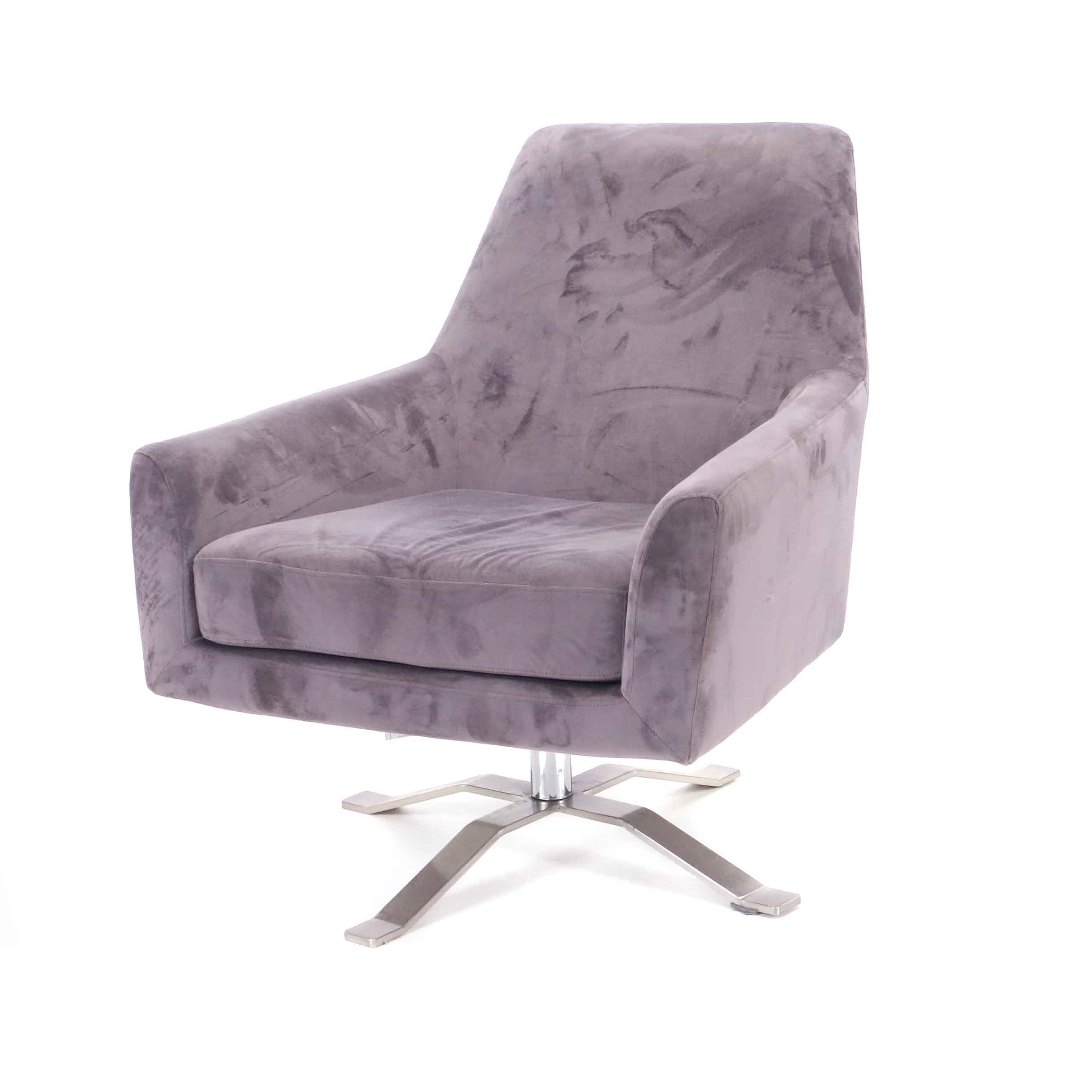 Gray Microfiber Swivel Chair on Chrome Base