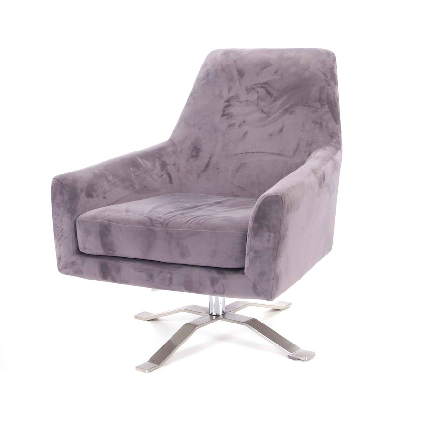 Swell Gray Microfiber Swivel Chair On Chrome Base Ebth Pdpeps Interior Chair Design Pdpepsorg