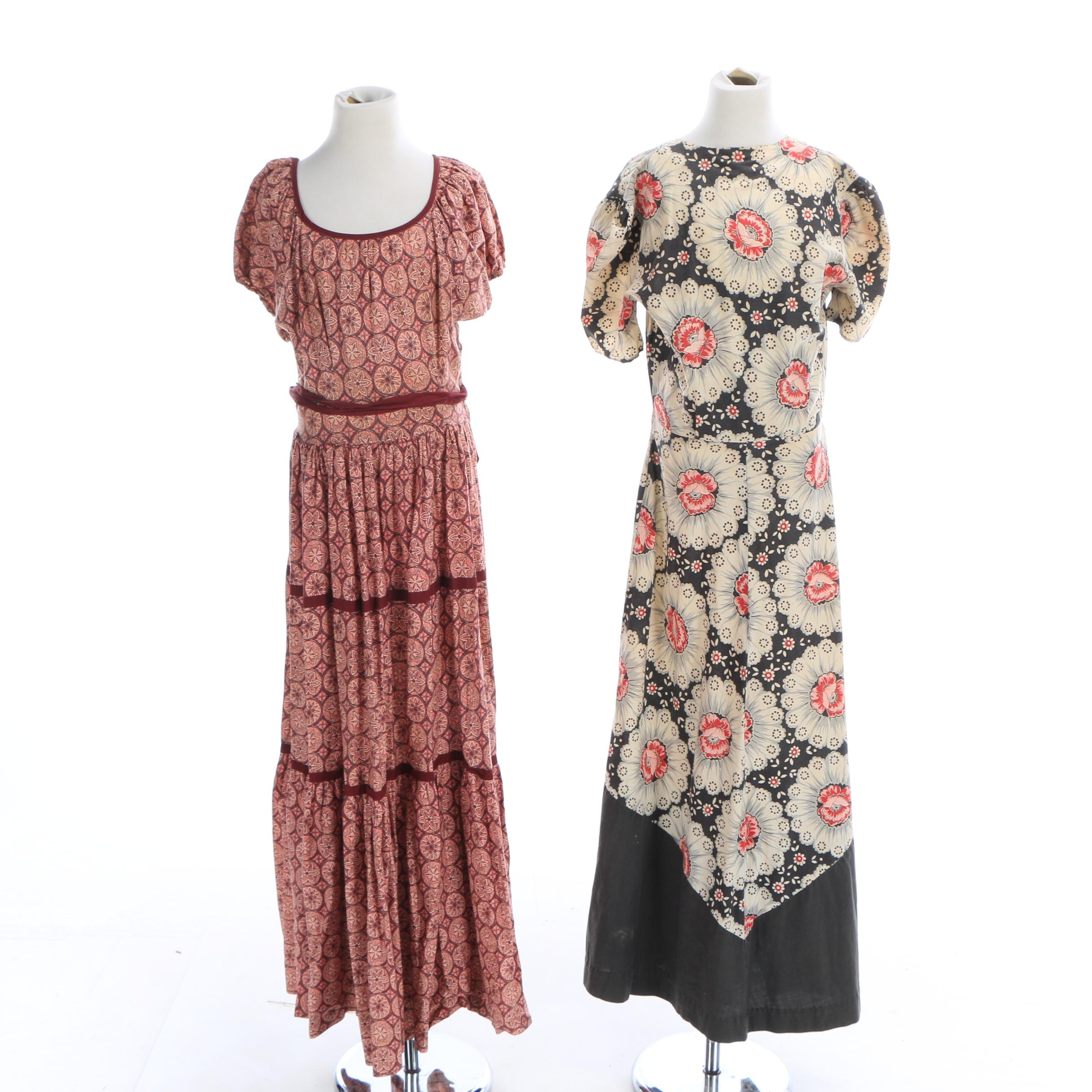 Vintage Floral Cotton Maxi Dresses