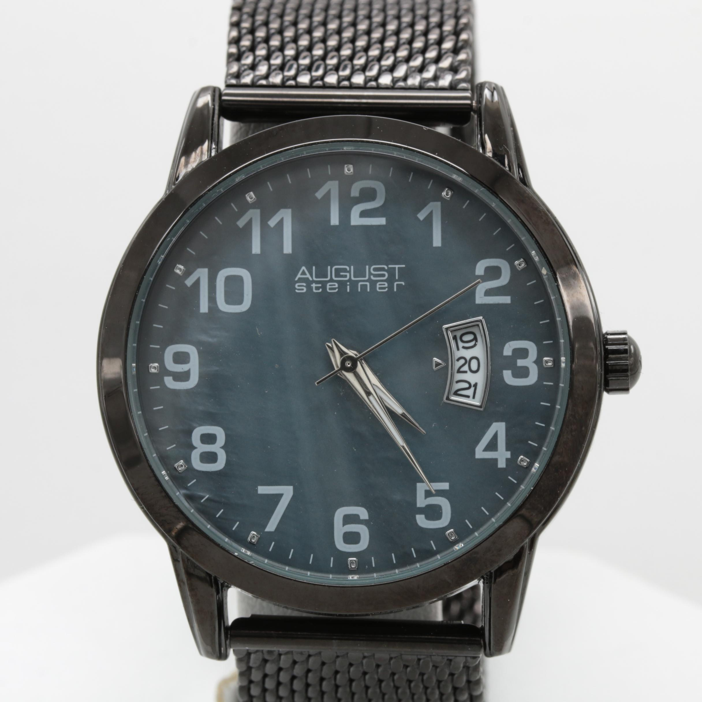 August Steiner Black PVD-Plated and Stainless Steel Wristwatch