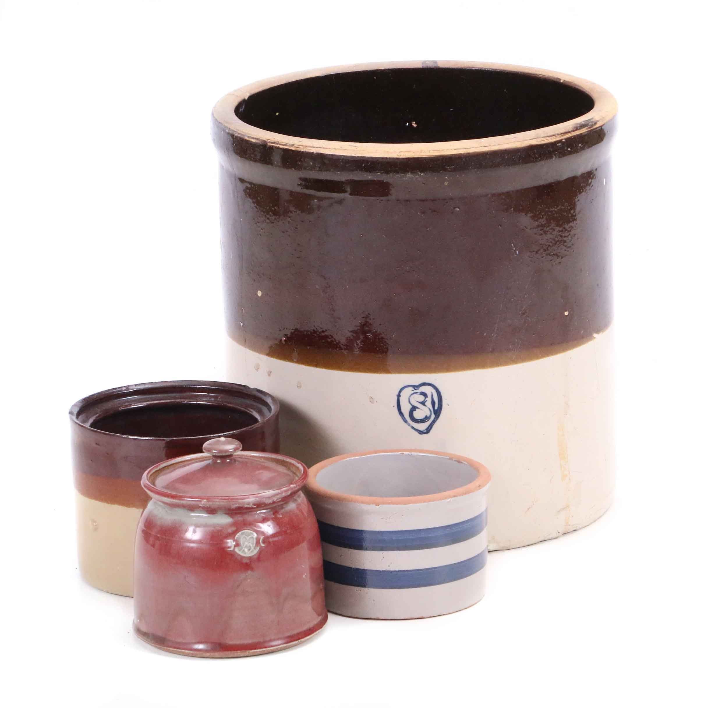 Stoneware Crocks with Lidded Stoneware Jar
