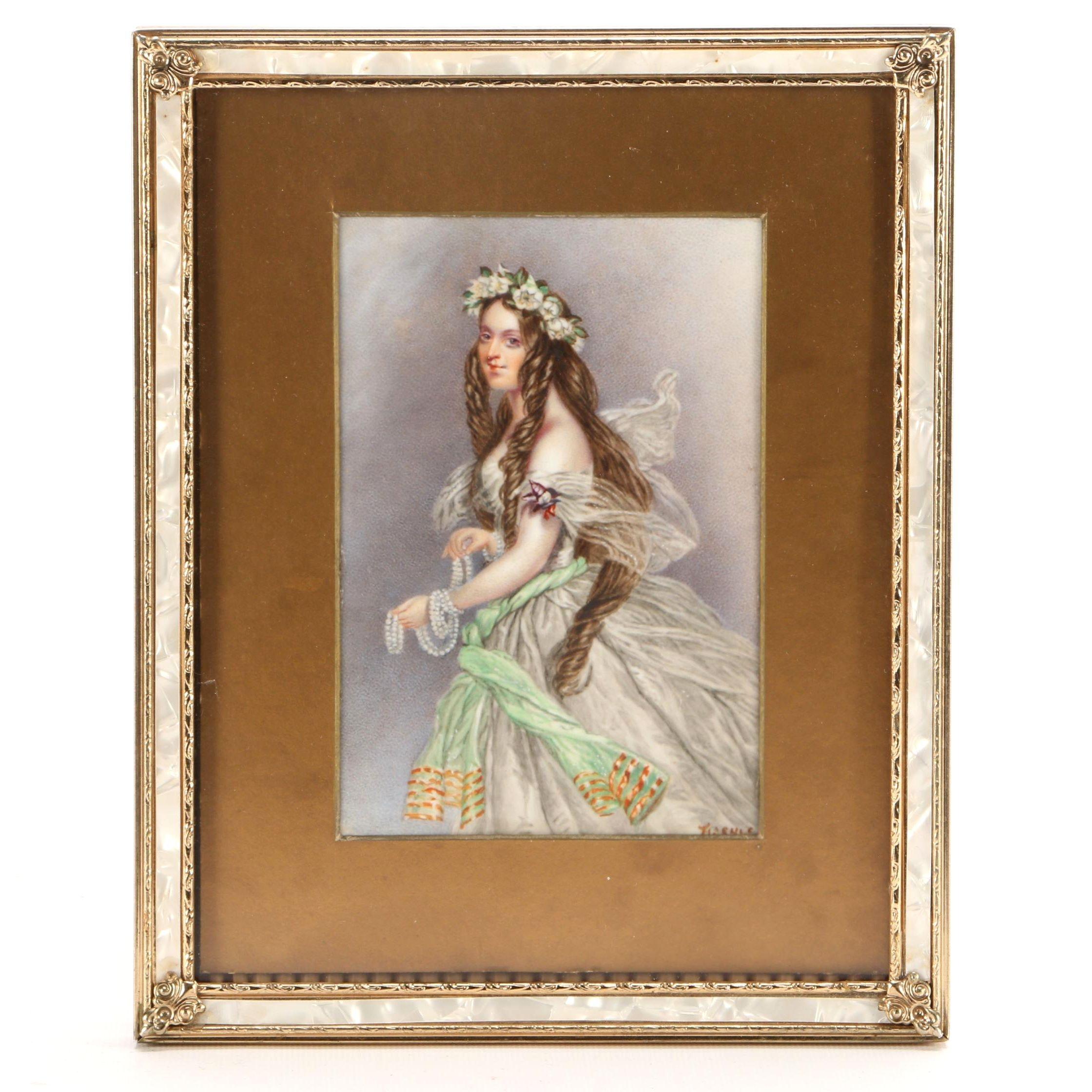 Hand-Painted Glazed Porcelain Portrait of Woman