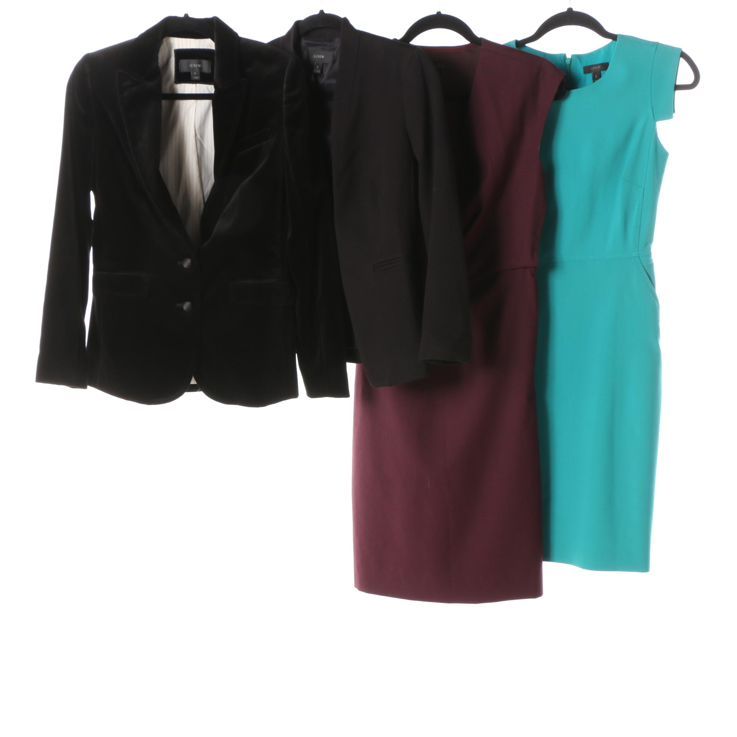 Women's J. Crew Burgundy and Turquoise Sheath Dresses and Black Blazers