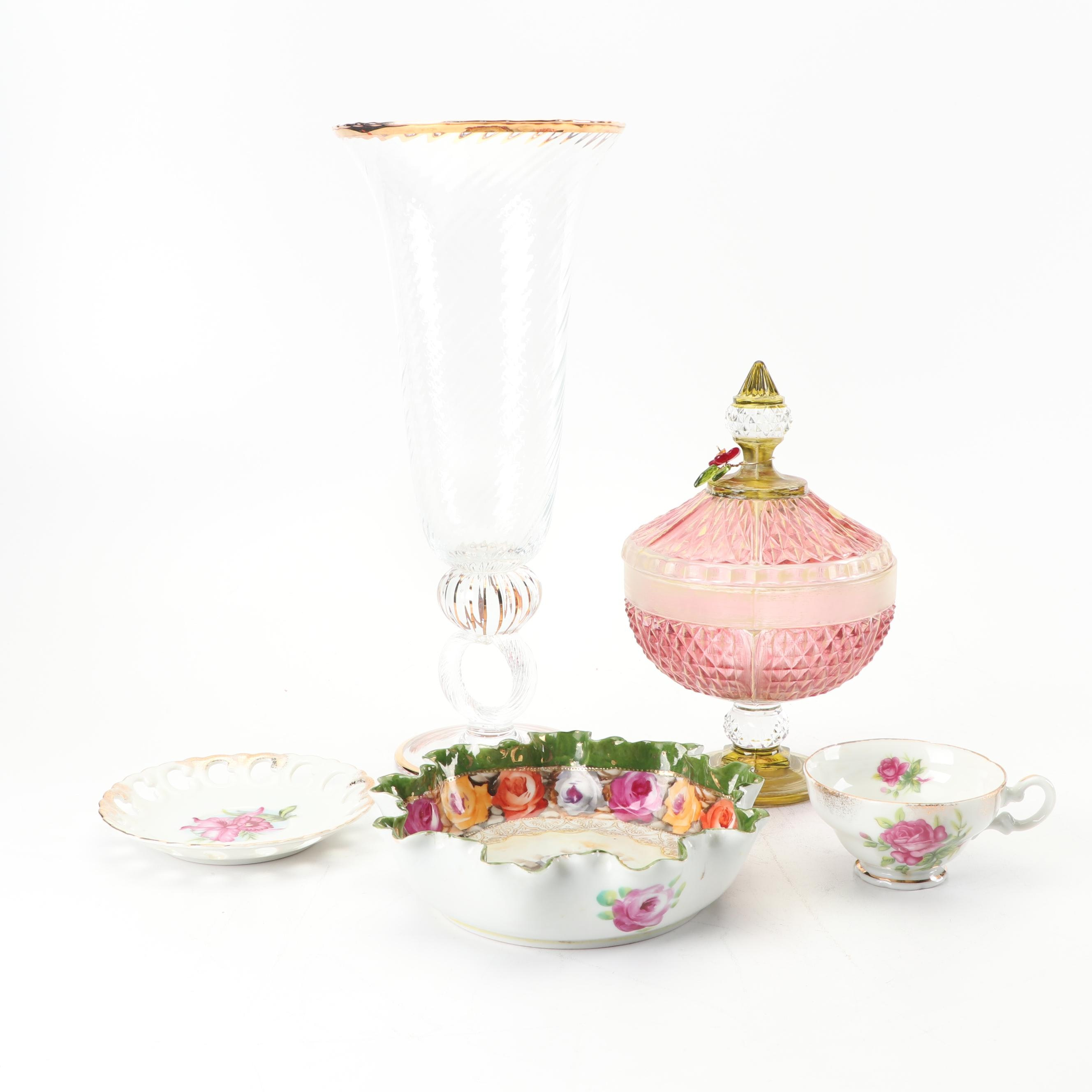 Vintage Porcelain Tableware with Turkish Flashed Cranberry Candy Dish