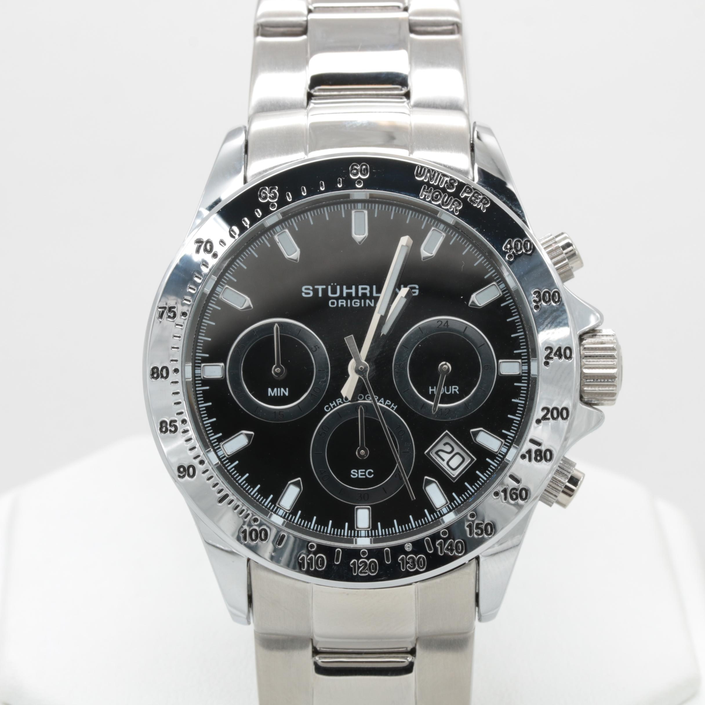 Stuhrling Stainless Steel Black Dial Wristwatch with Date Window