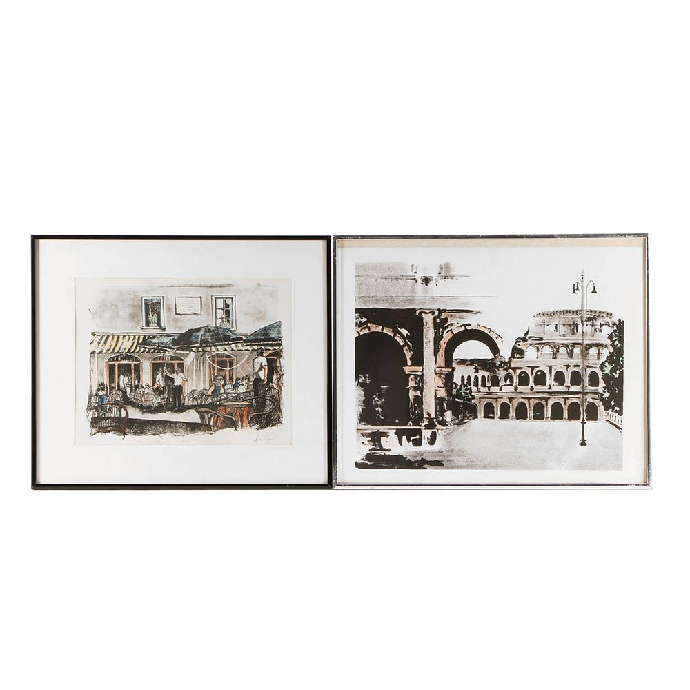 Signed Hand-Colored Lithographs on Paper of Italian Scenes