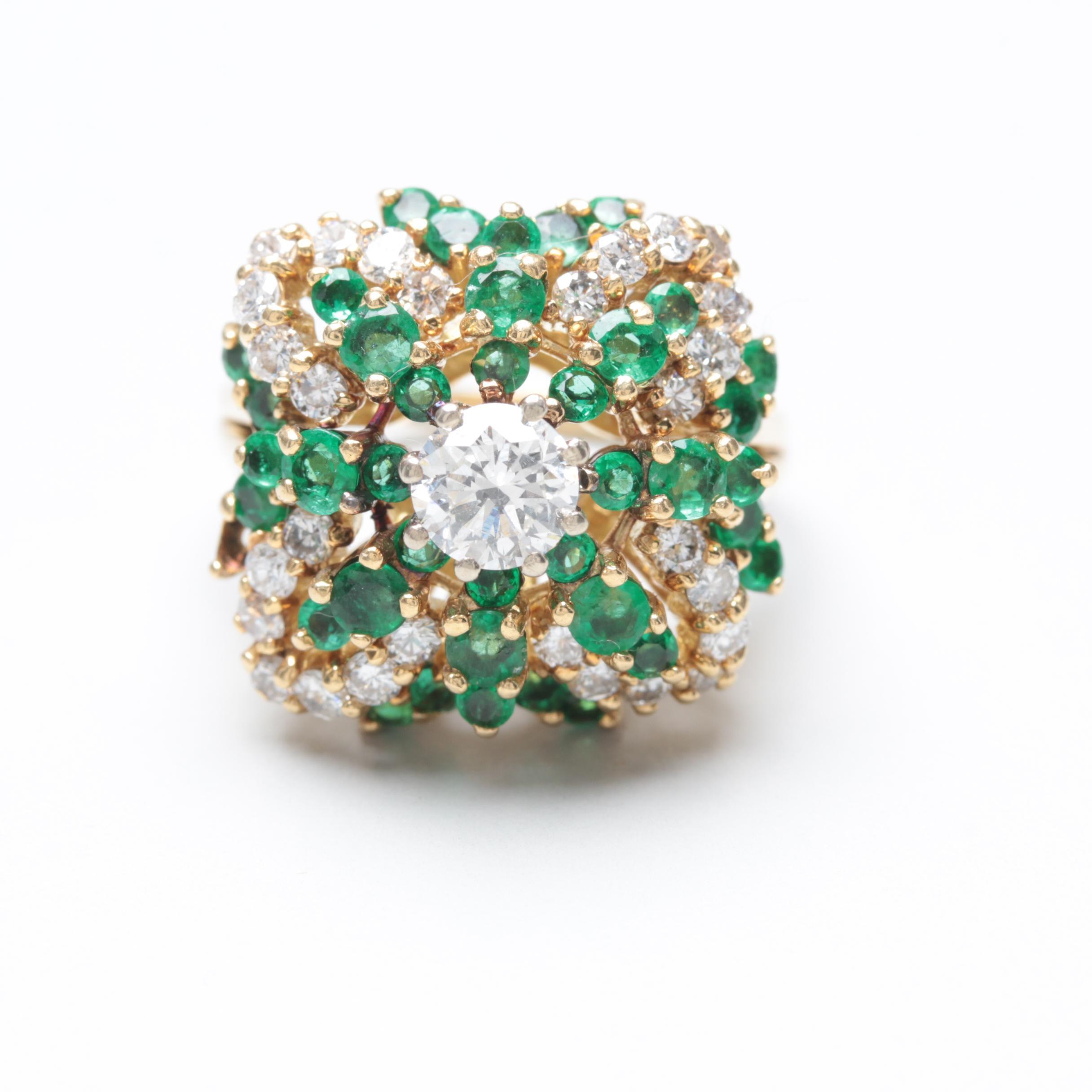 10K Yellow Gold 1.22 CTW Diamond and Emerald Ring