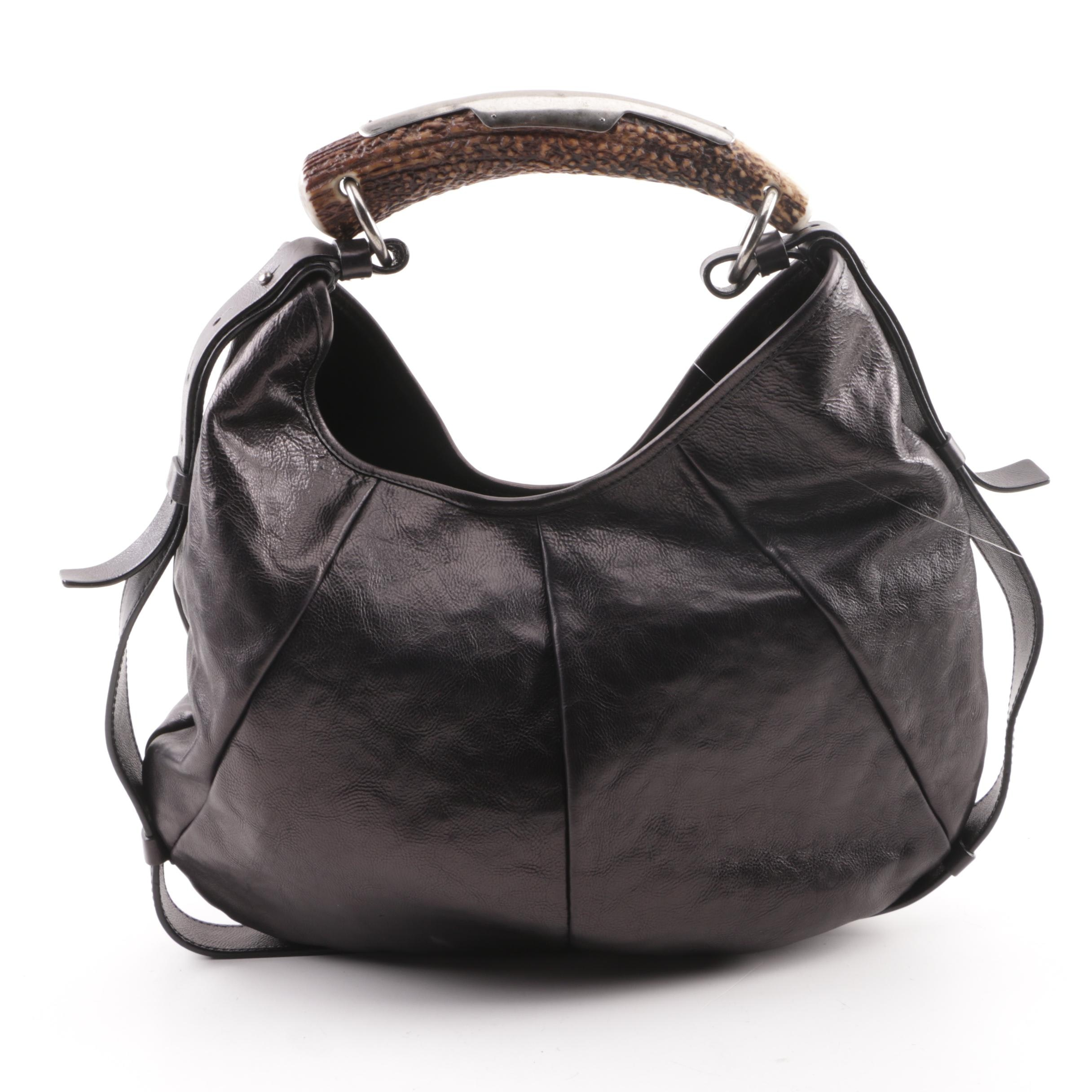 Yves Saint Laurent Black Leather Mombasa Horn Bag
