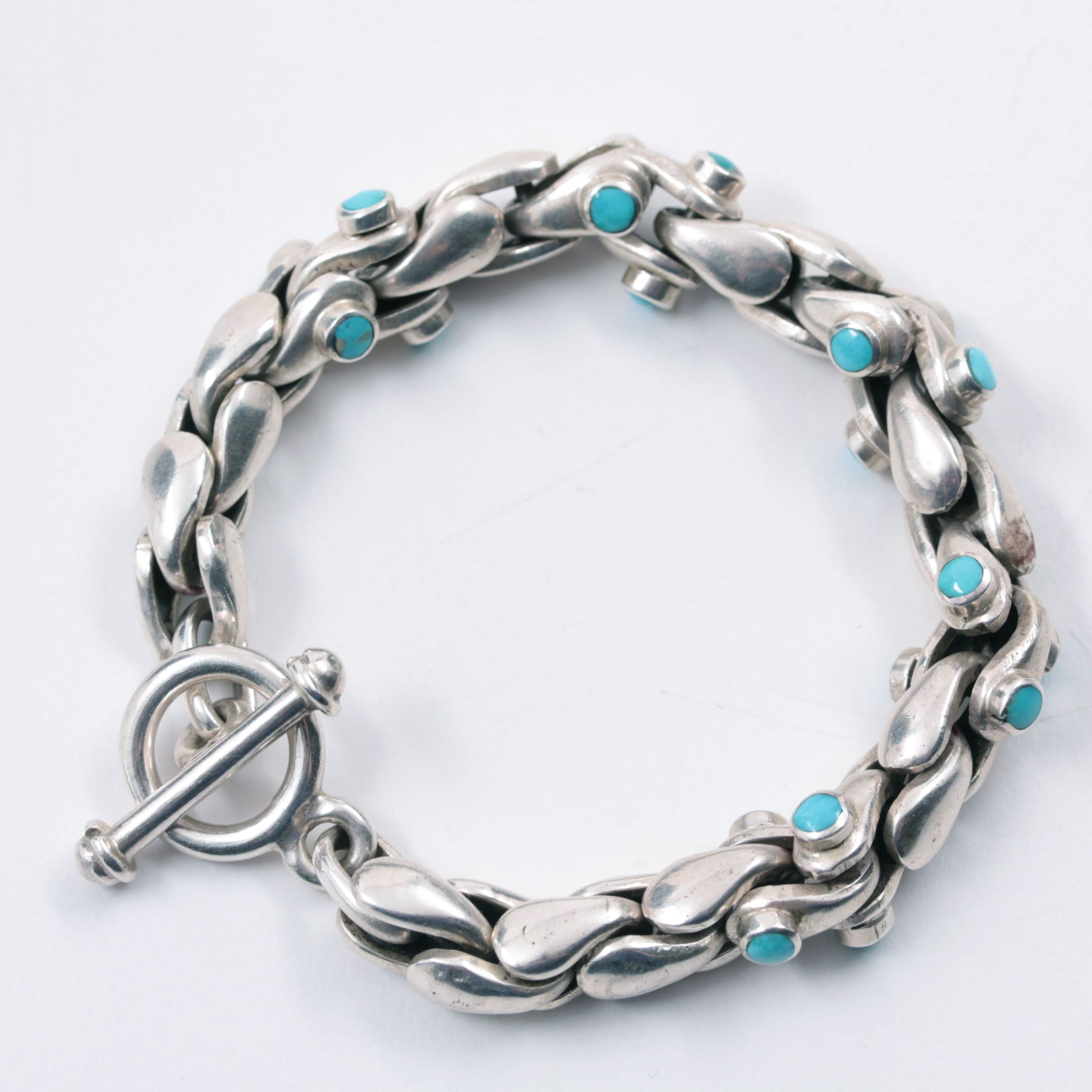 Sterling Silver Stabilized Turquoise Fancy Linked Bracelet
