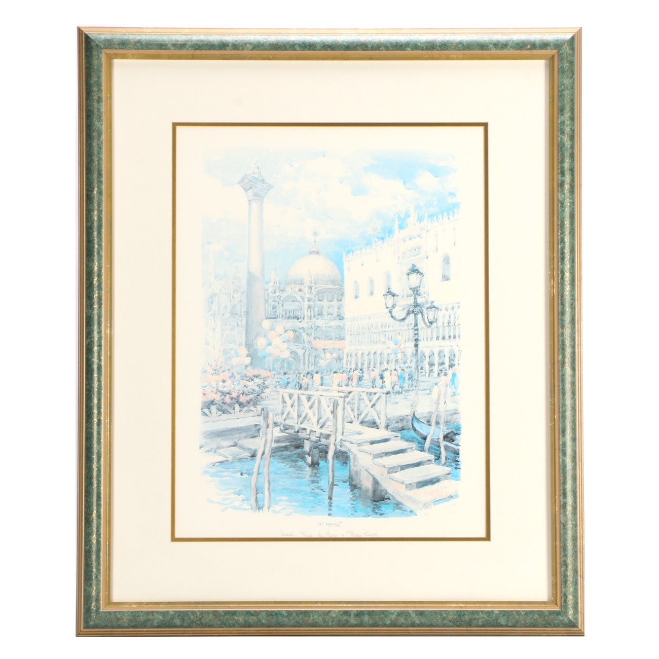 "Offset Lithograph Print After F. Neri ""Venezia - Piazza San Marco"""