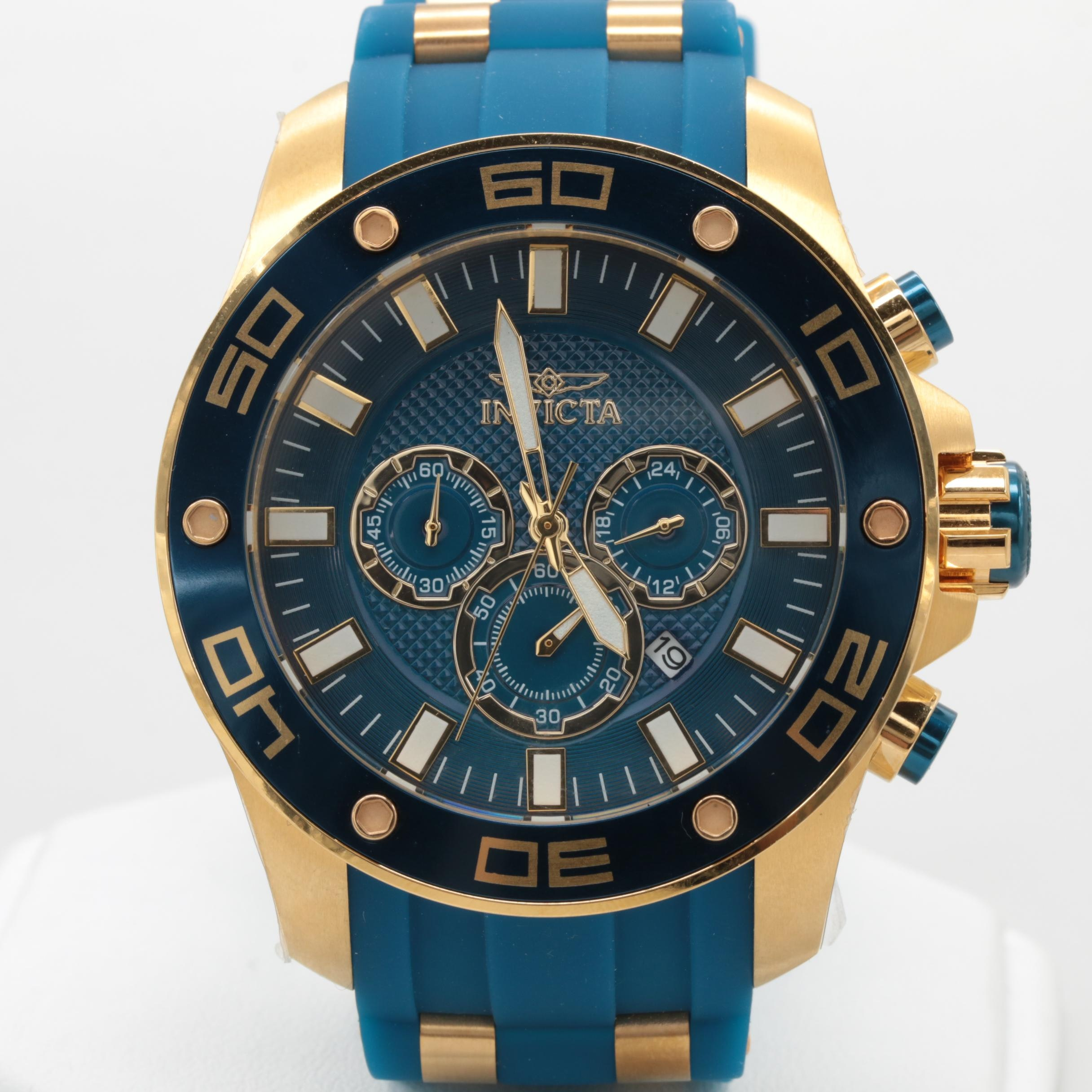 Invicta Gold Tone Stainless Steel Blue Silicone Strap Wristwatch