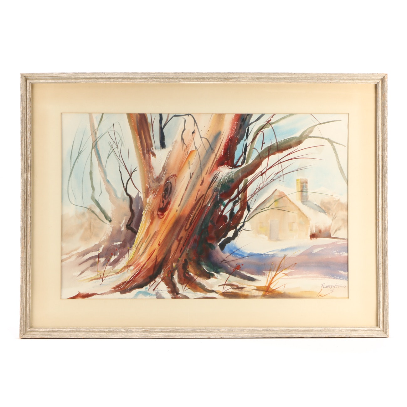 Florence Vintage Watercolor Painting of Tree in Winter