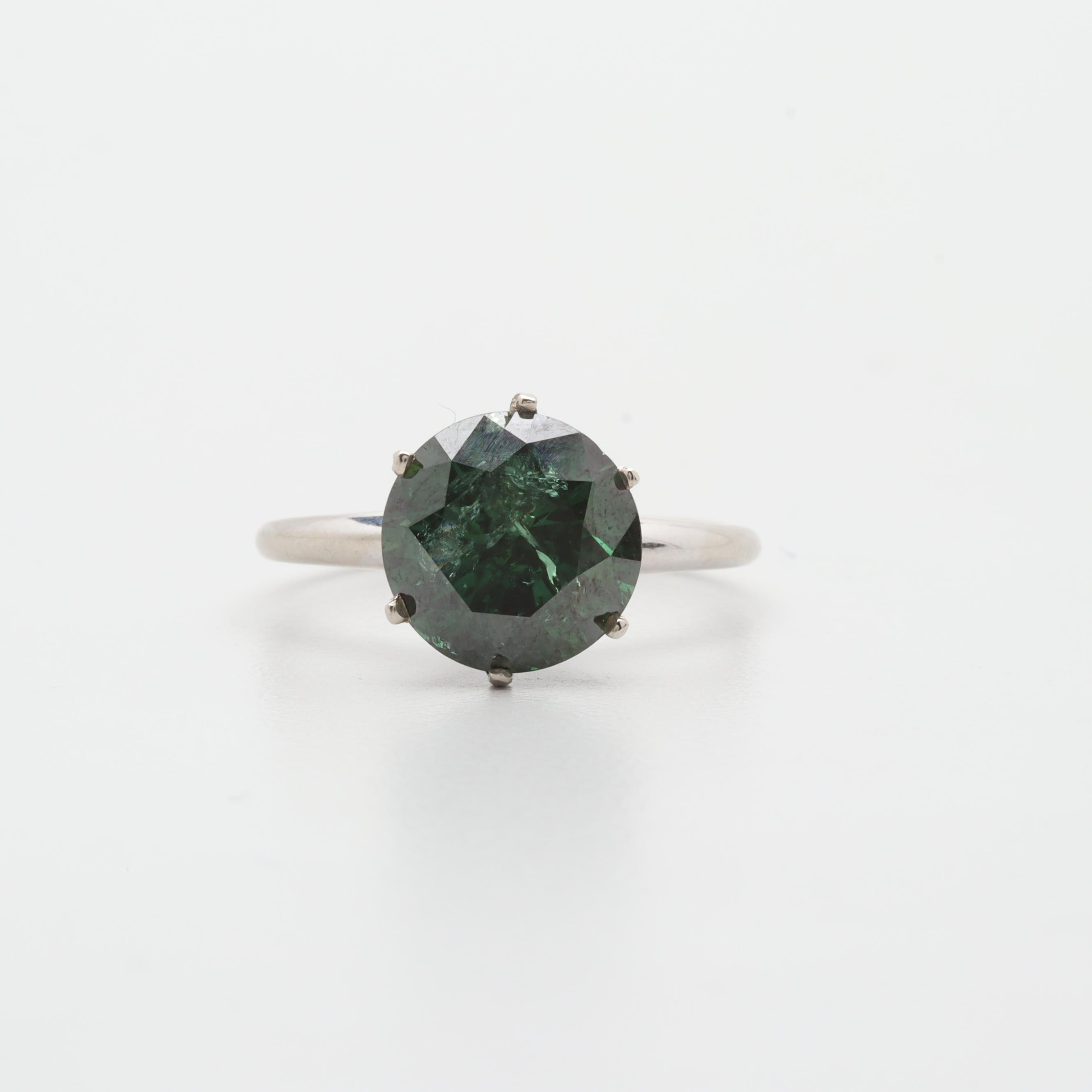 10K and 14K White Gold 3.26 CT Green Diamond Solitaire Ring