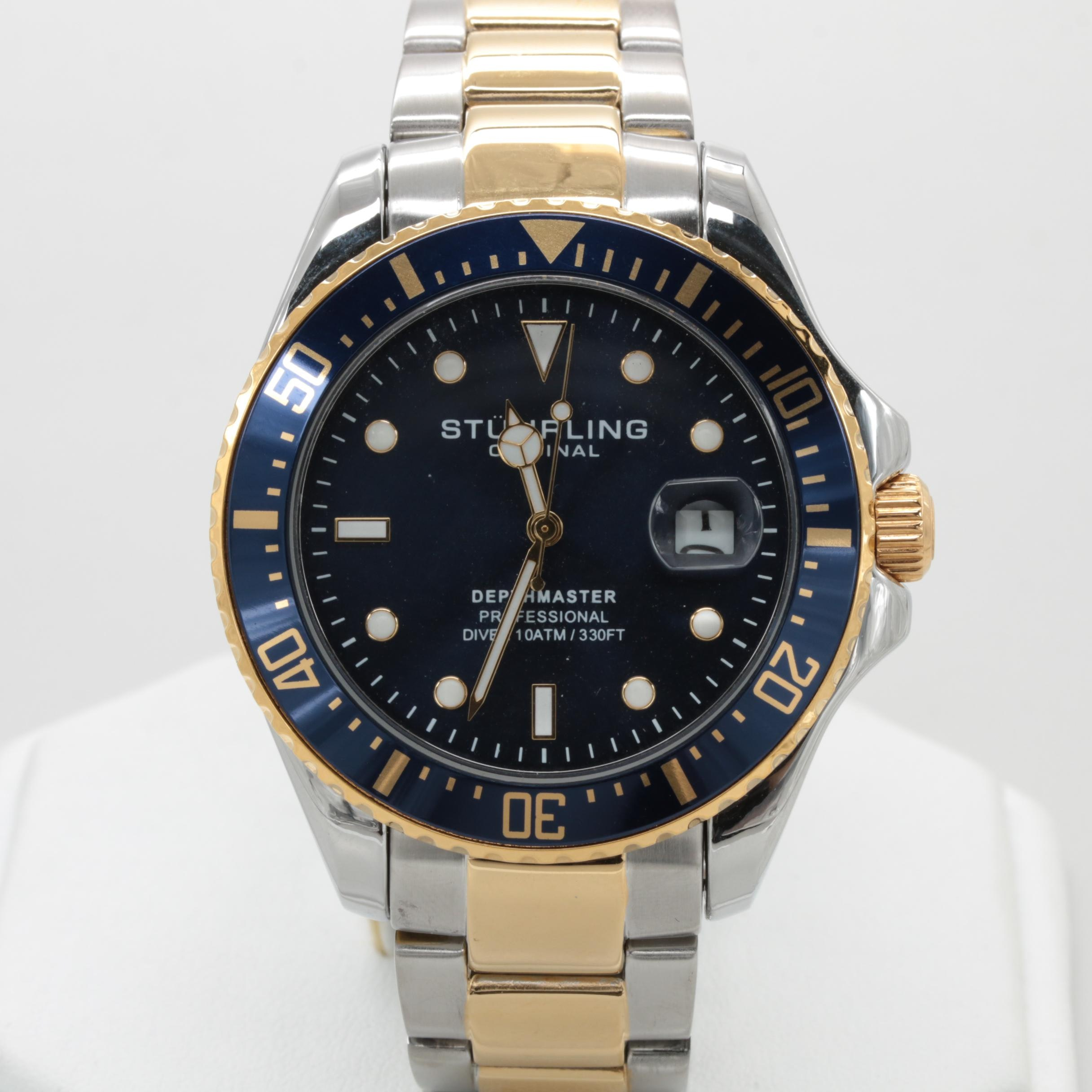 Stuhrling Two Tone Stainless Steel Blue Dial Wristwatch with Date Window