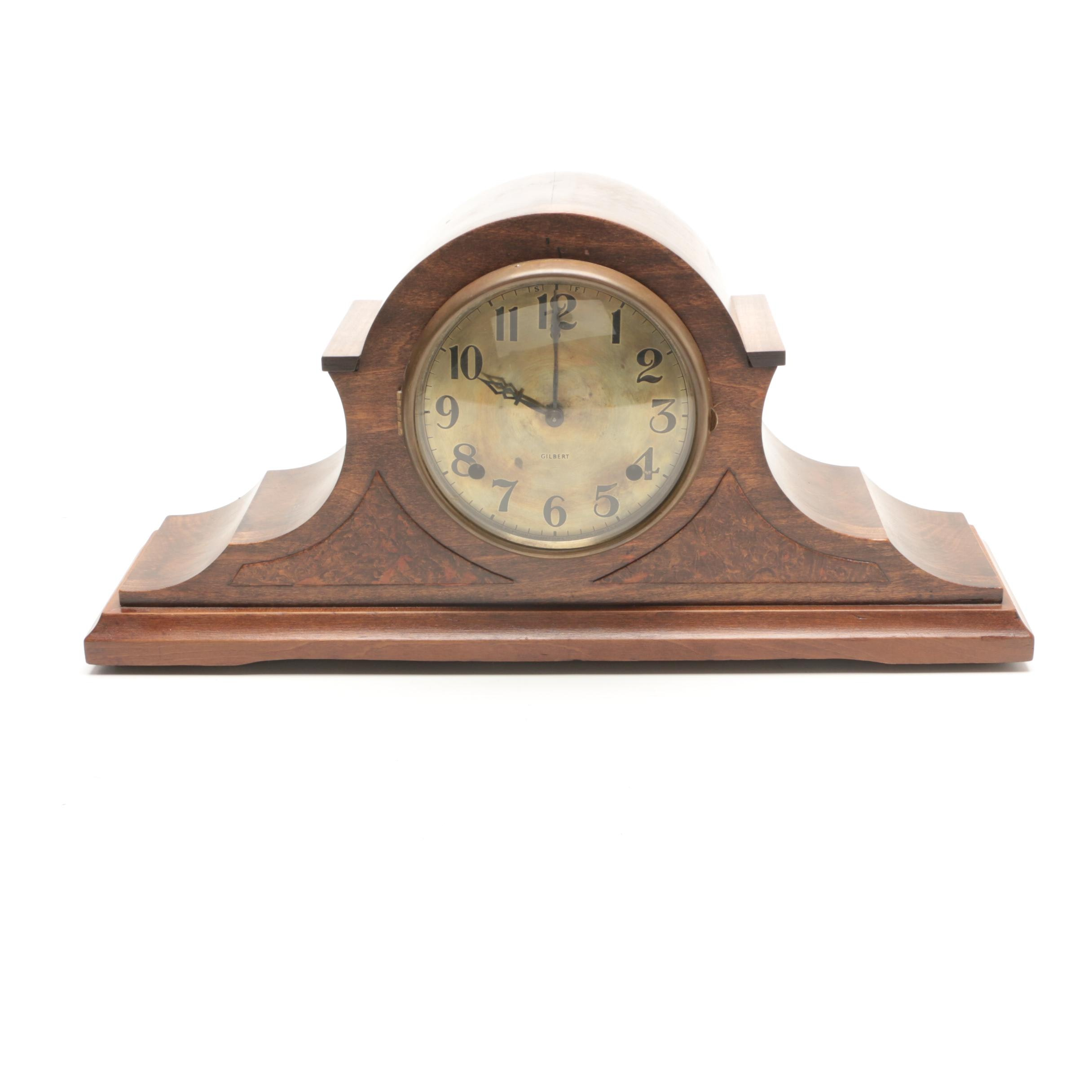 1930s Gilbert Mahogany Tambour Clock with Brass Face