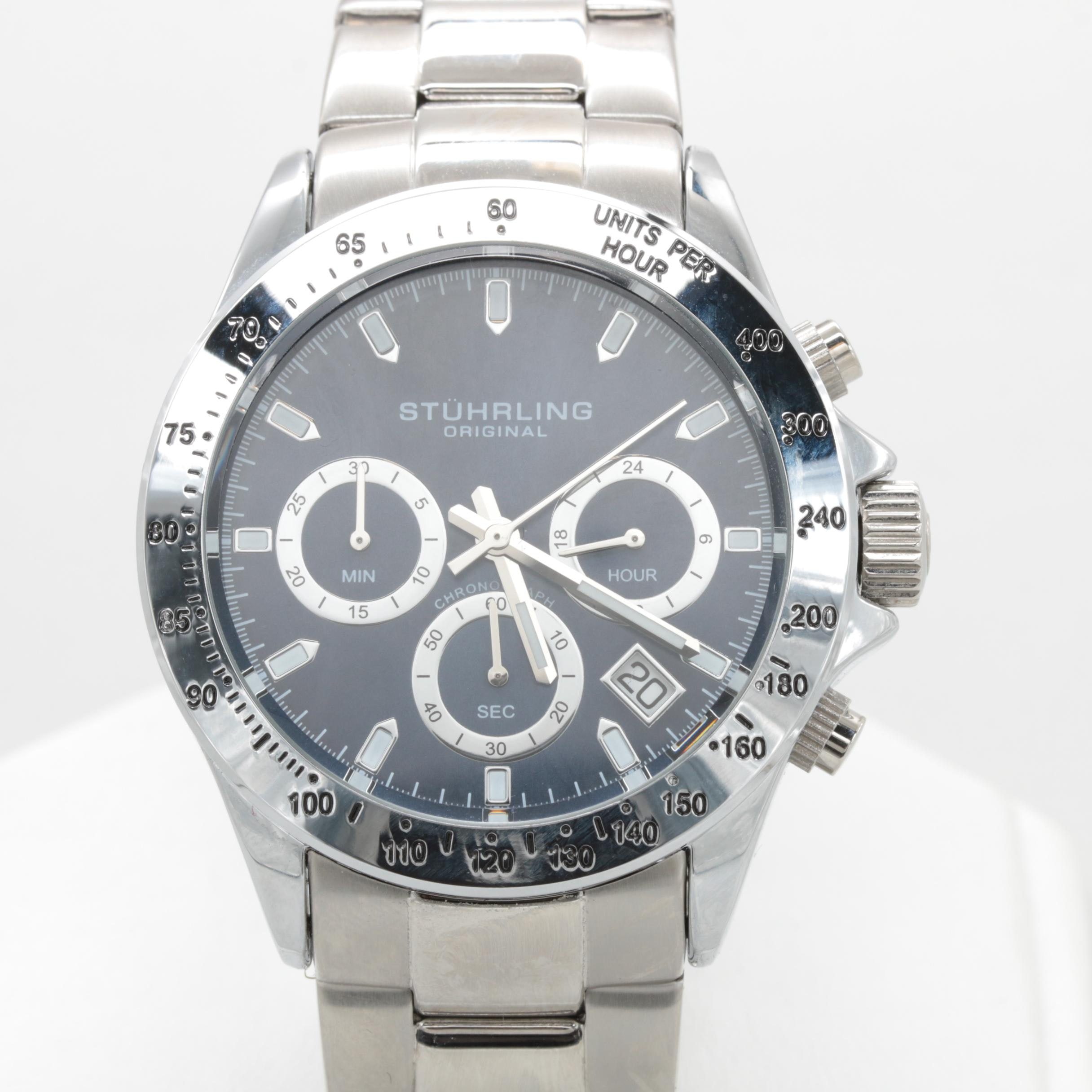 Stuhrling Stainless Steel Blue Dial Chronograph Wristwatch with Date