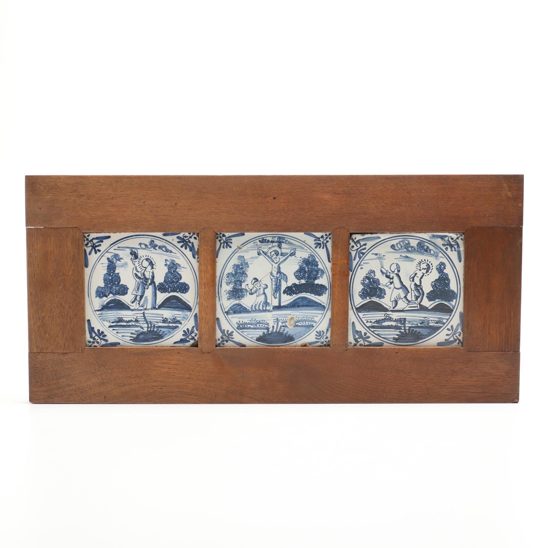 Antique Delft Tiles in Walnut Frame