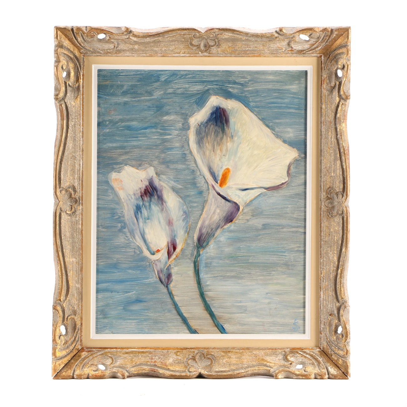 Sol Schwartz Oil Painting on Board of White Calla Lilies