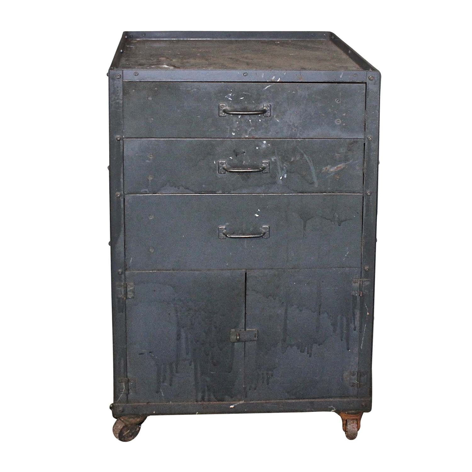 Vintage Metal Tool Cabinet on Wheels