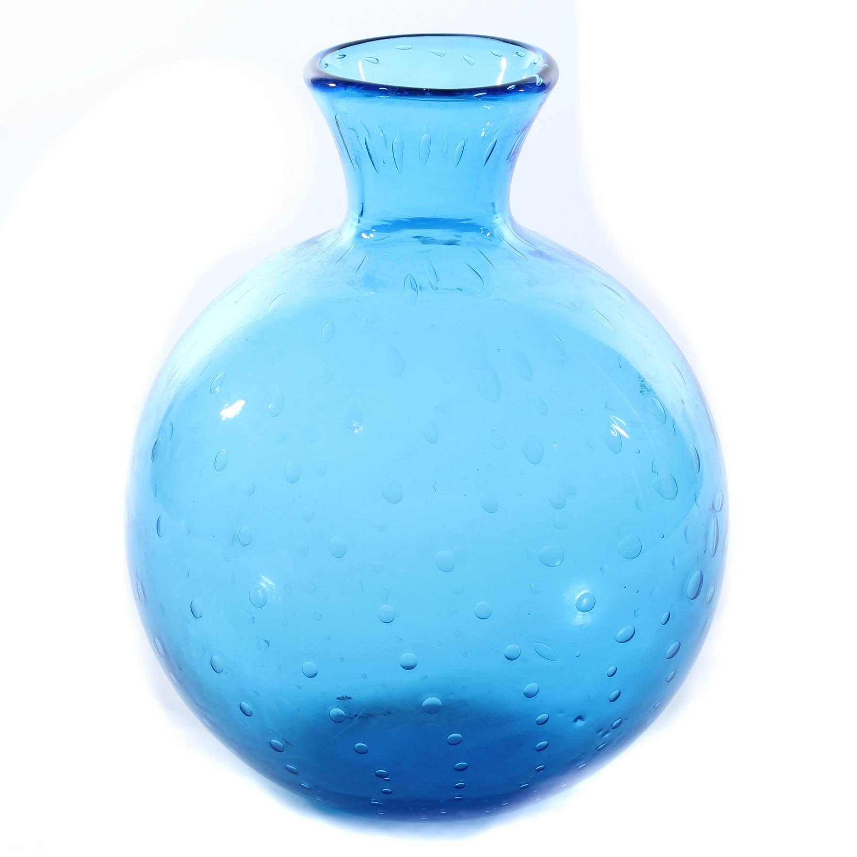 Blenko Hand-Blown Controlled Bubble Art Glass Vase