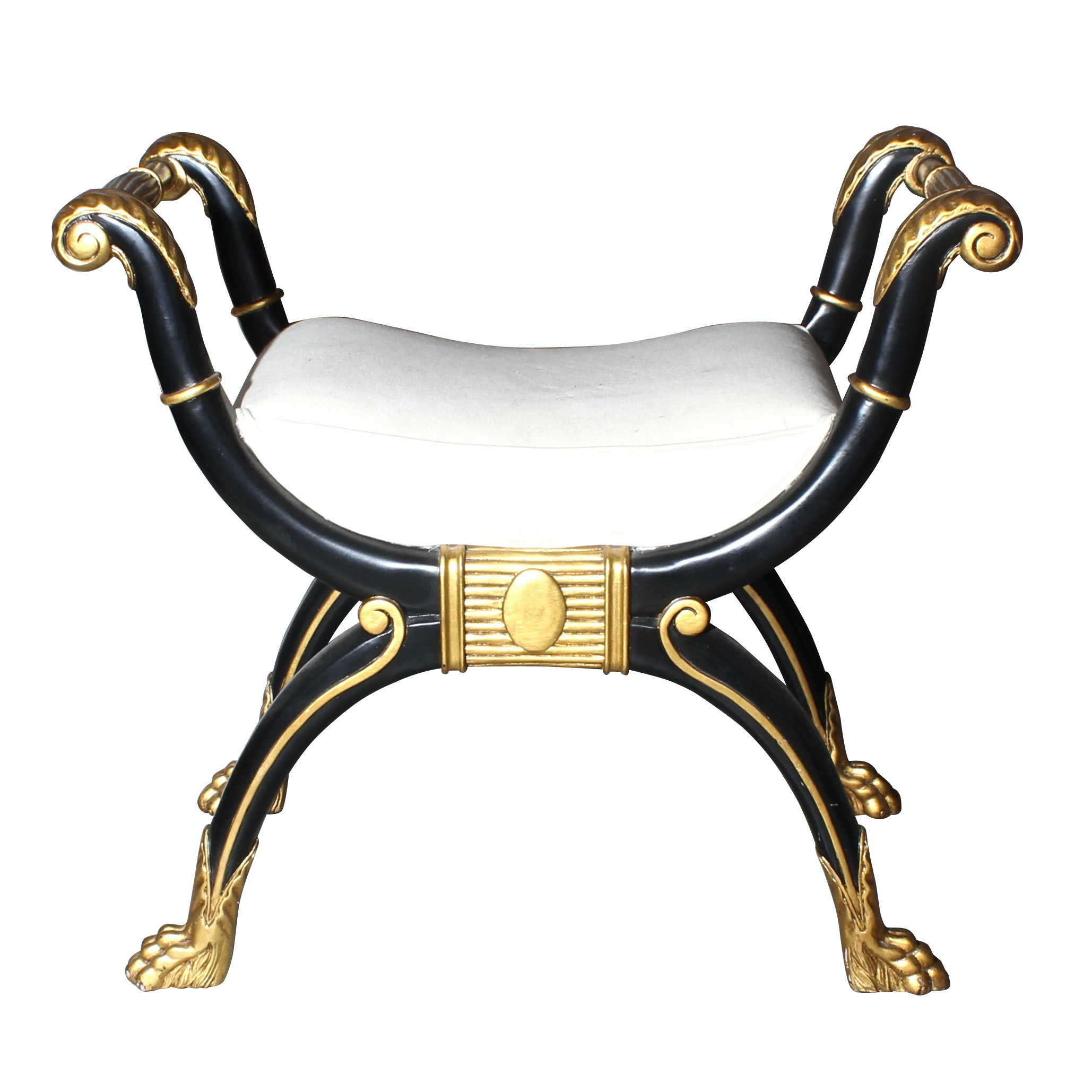 Neoclassical Style Ornate Vanity Bench