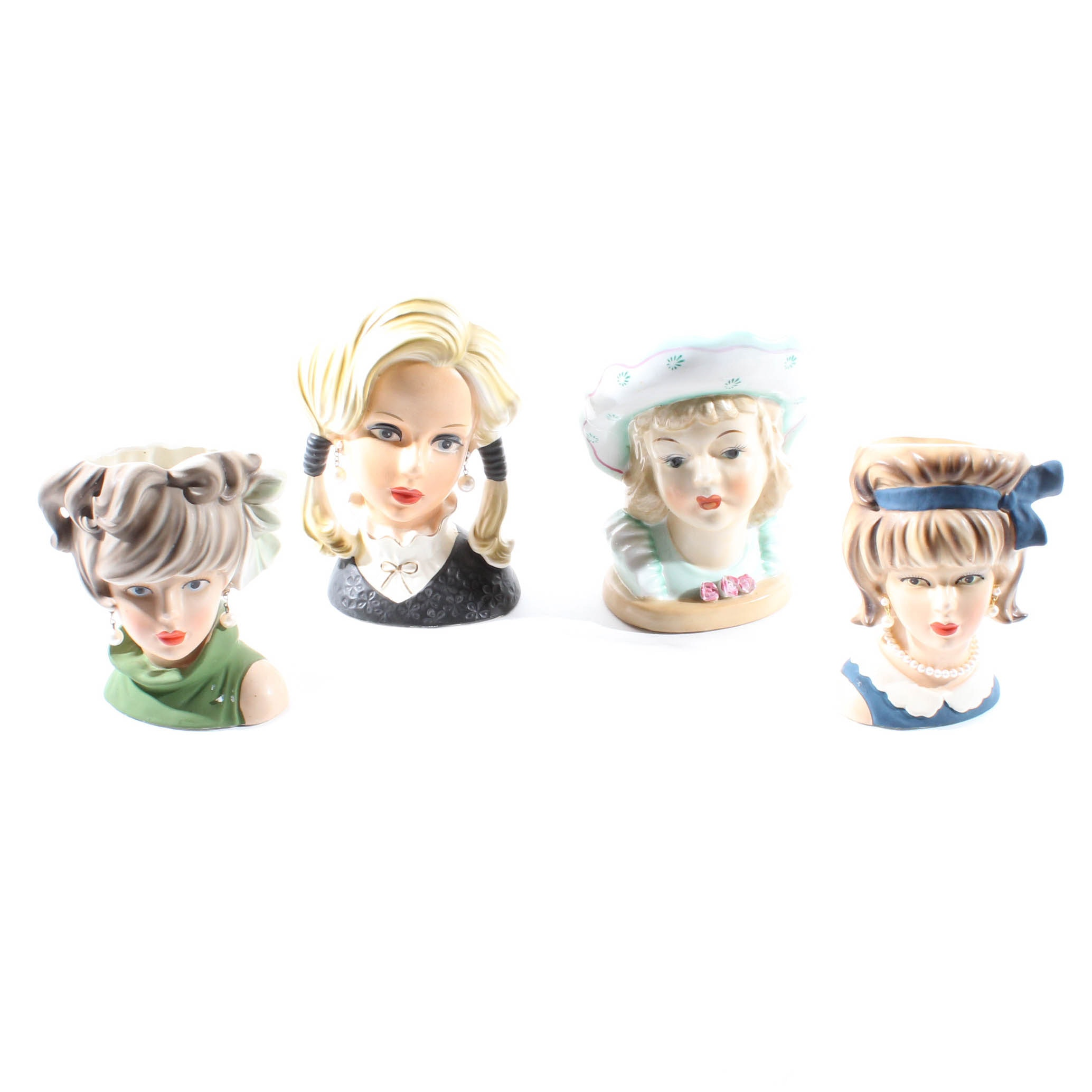 Teen Girl Head Vases by Cafeco and Rubens