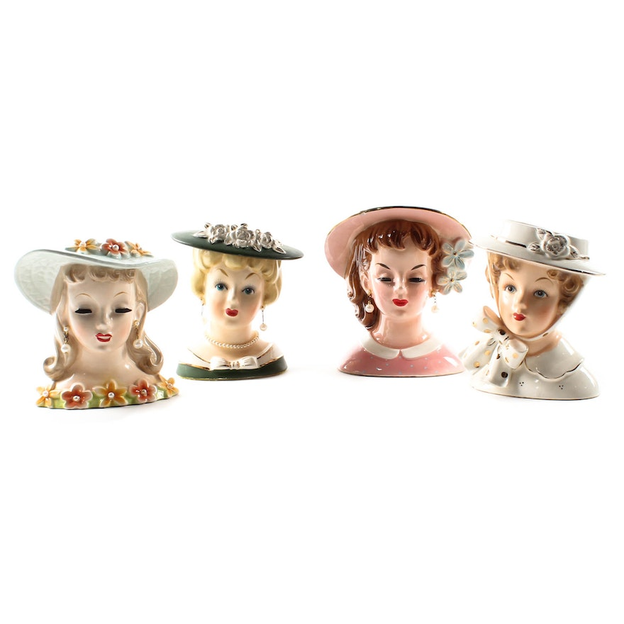 Lady Head Vases By Napco And Relpo Ebth