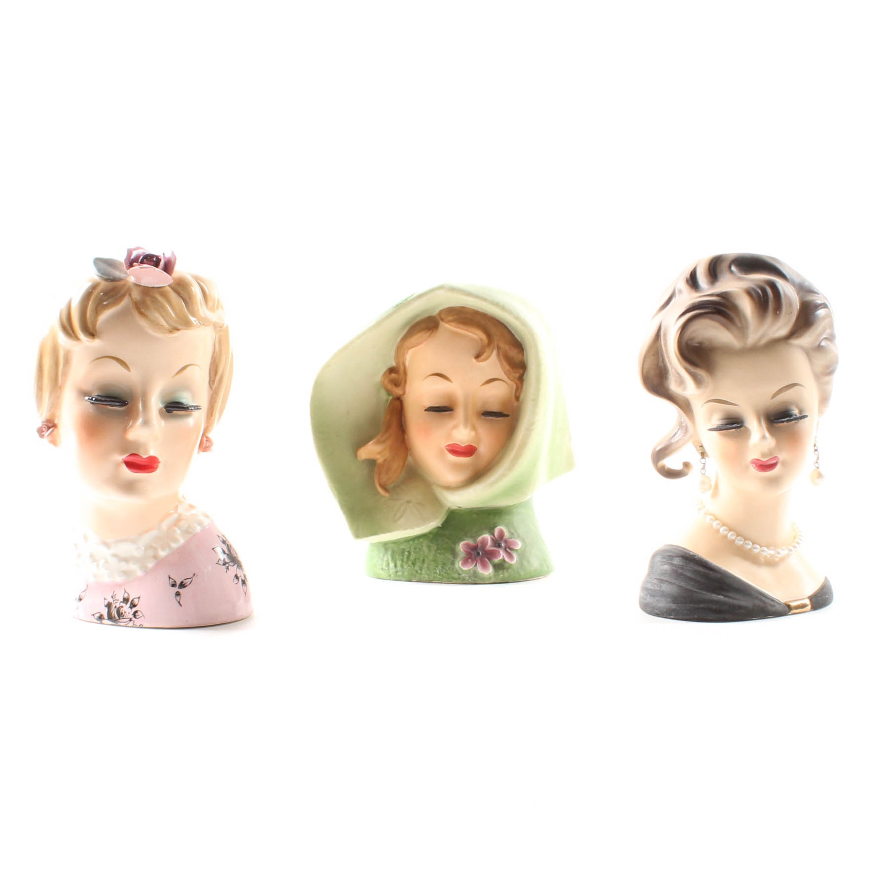 Porcelain Lady Head Vases Including Relpo and Inarco