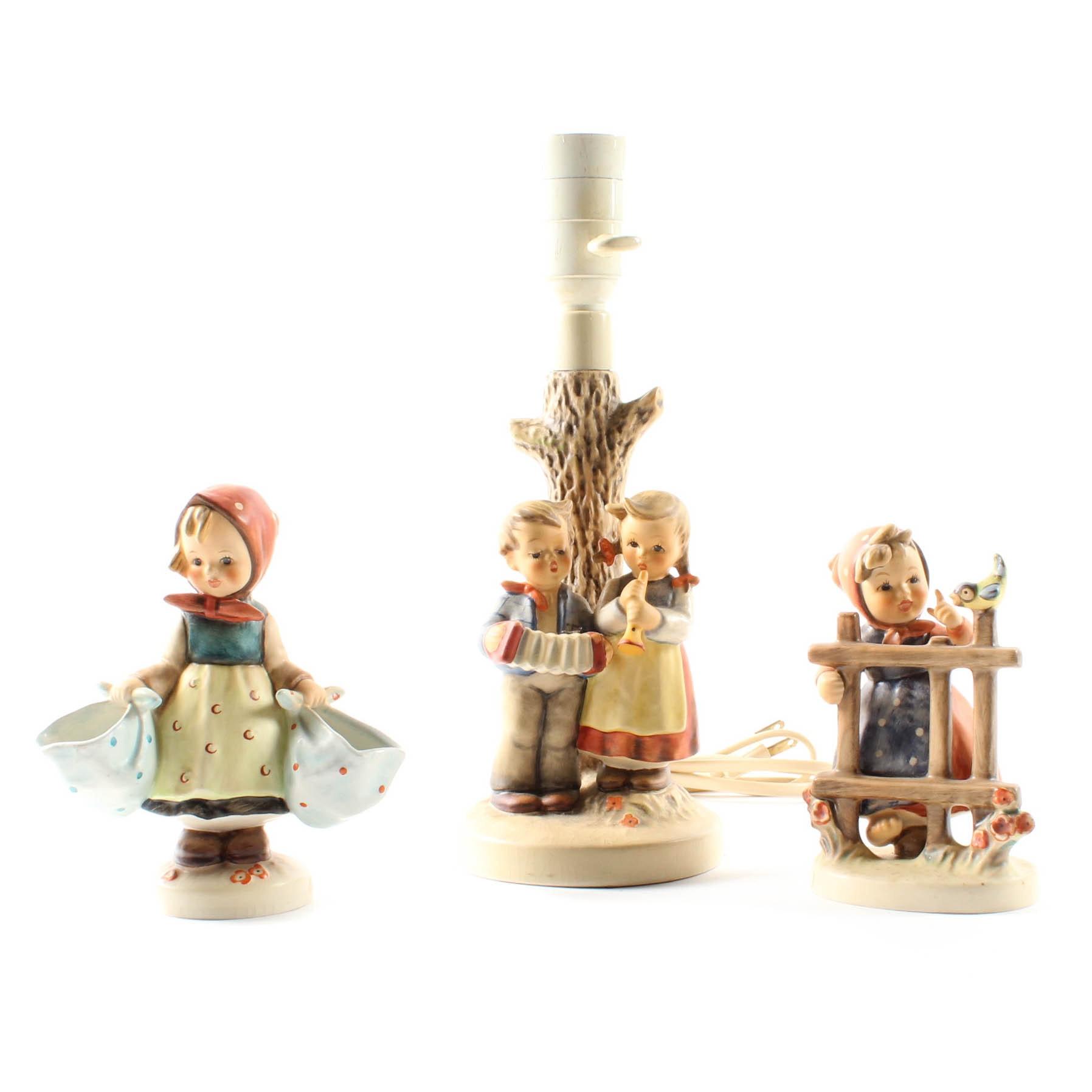 M. J. Hummel Desk Lamp and Figurines
