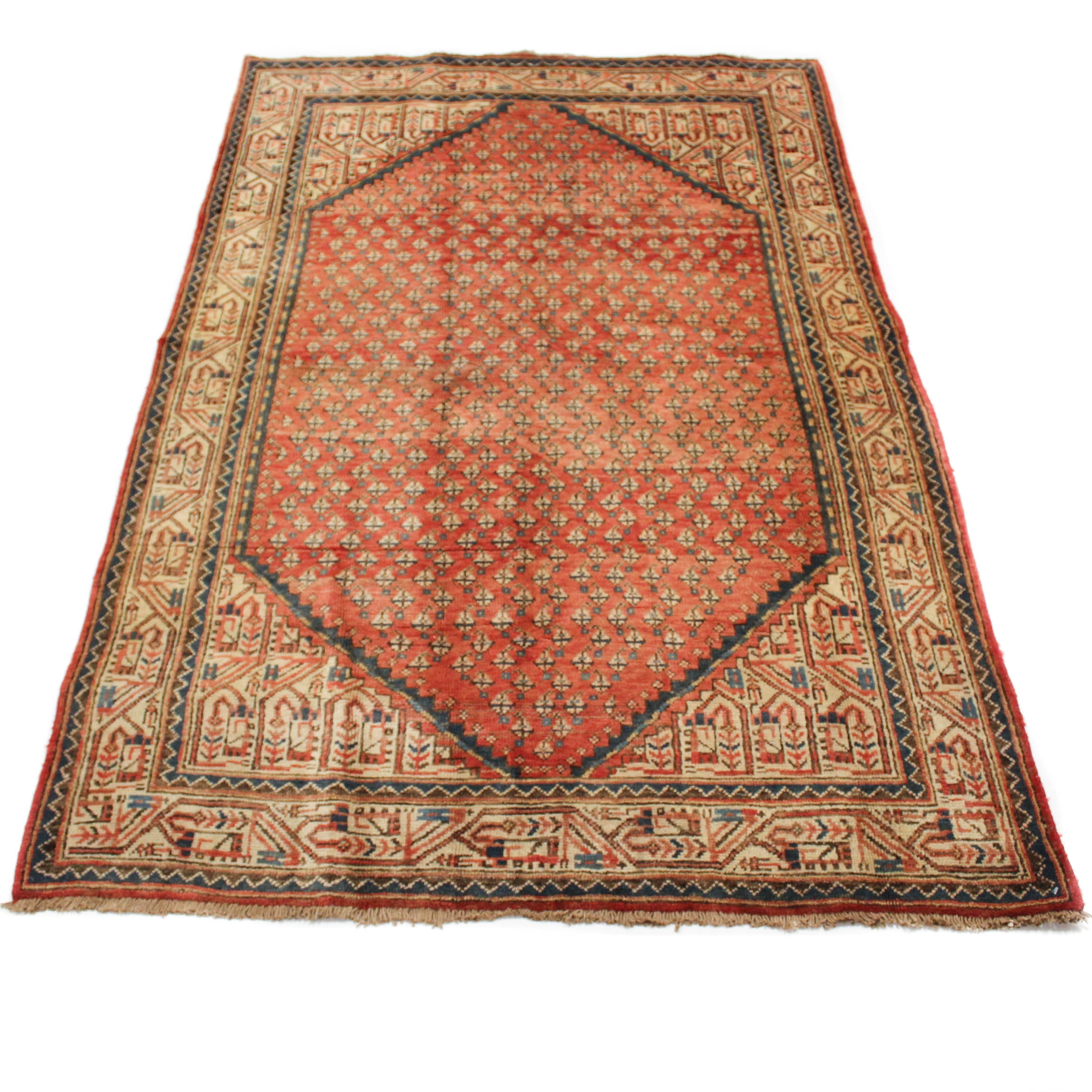 Semi-Antique Hand-Knotted Persian Mir Serabend Area Rug