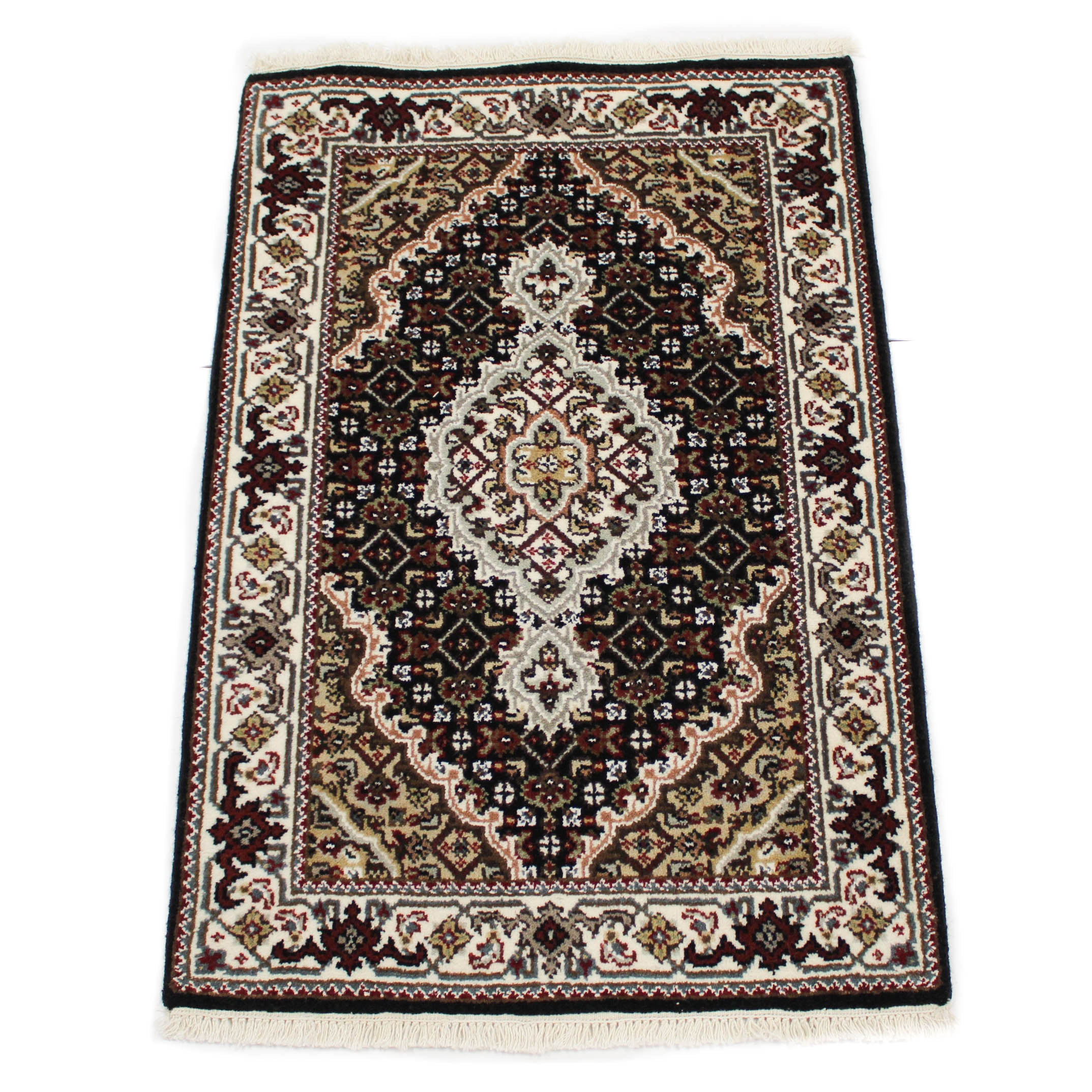 Fine Hand-Knotted Indo-Persian Tabriz Silk Blend Accent Rug