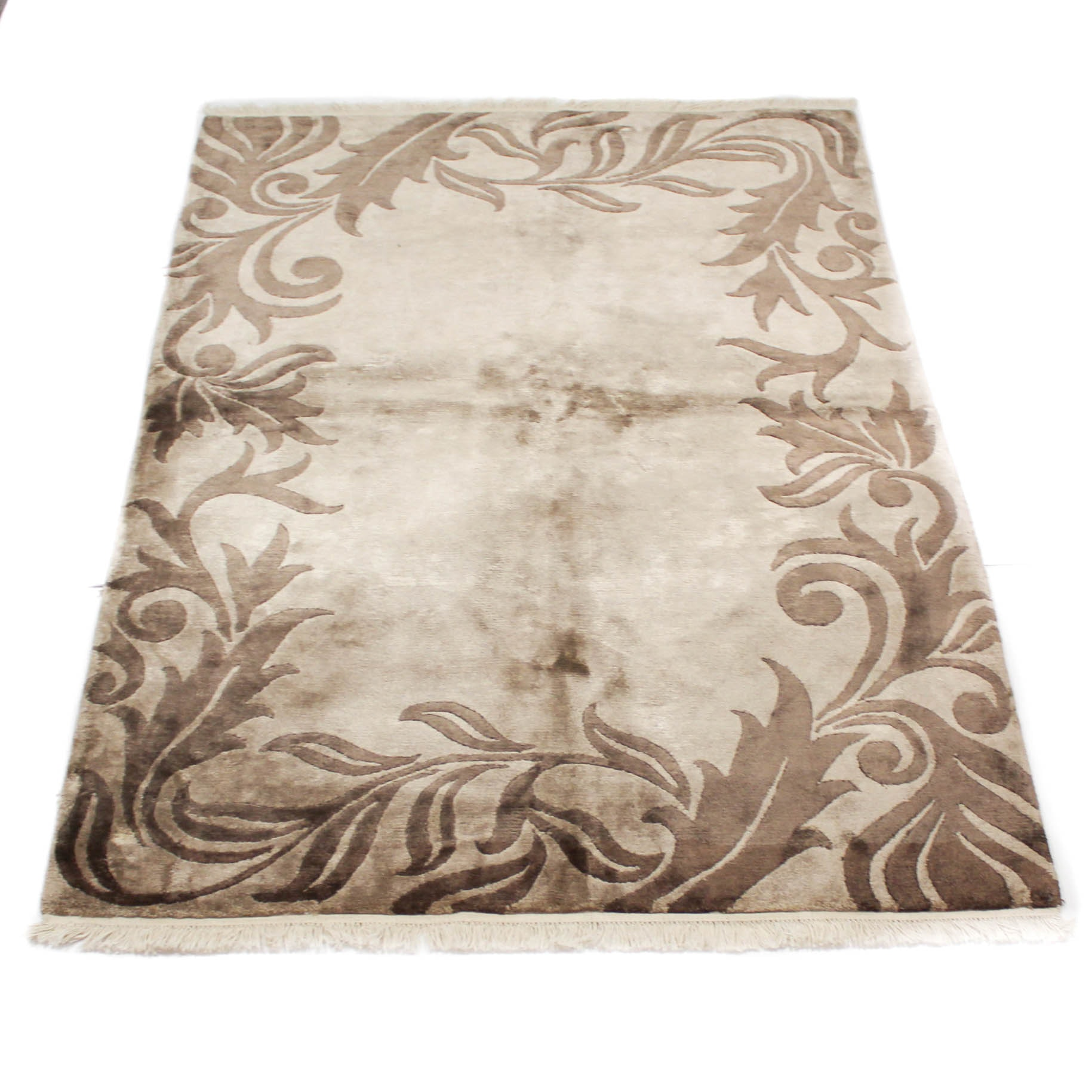 Fine Hand-Knotted Bambo Silk Area Rug