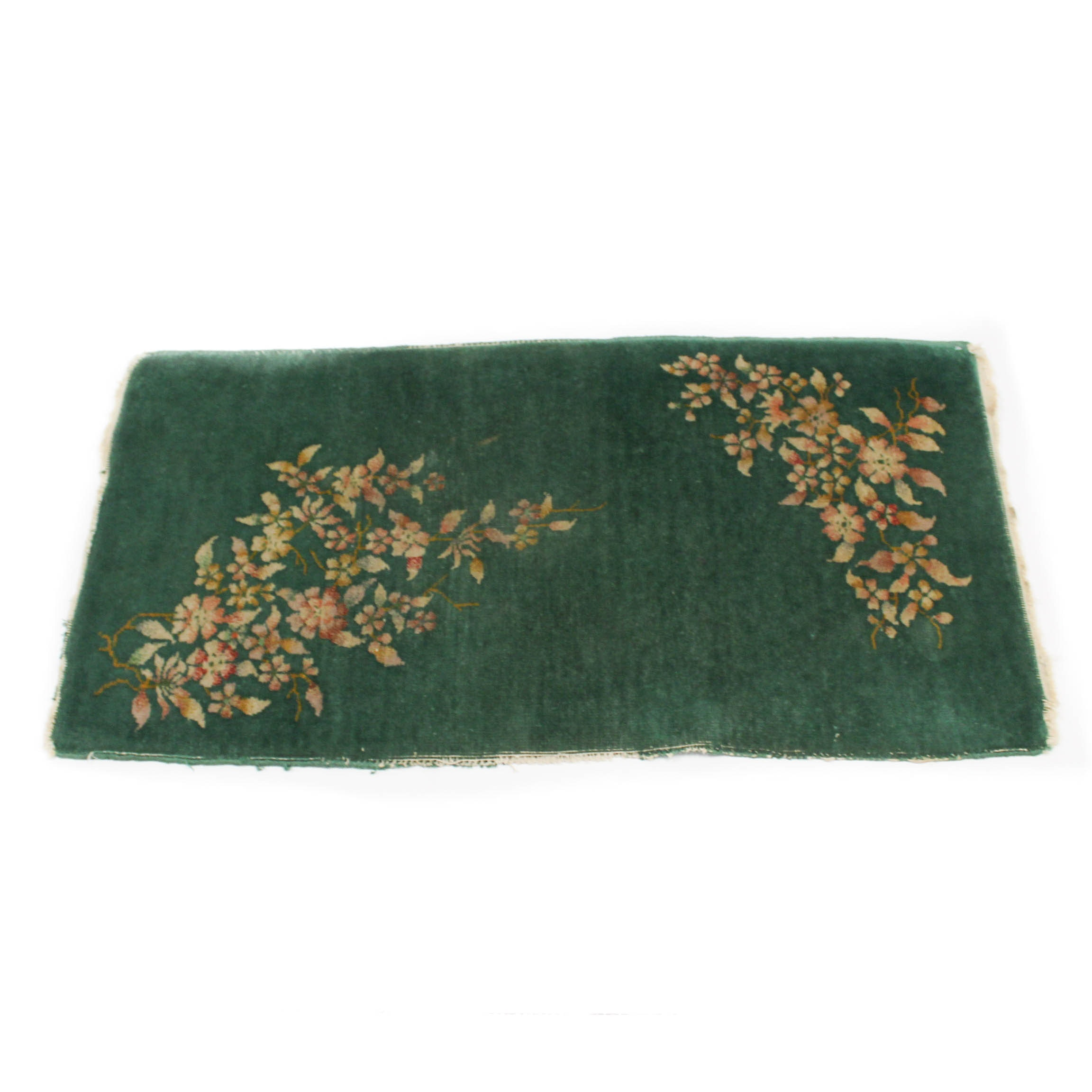 Semi-Antique Hand-Knotted Chinese Art Deco Accent Rug