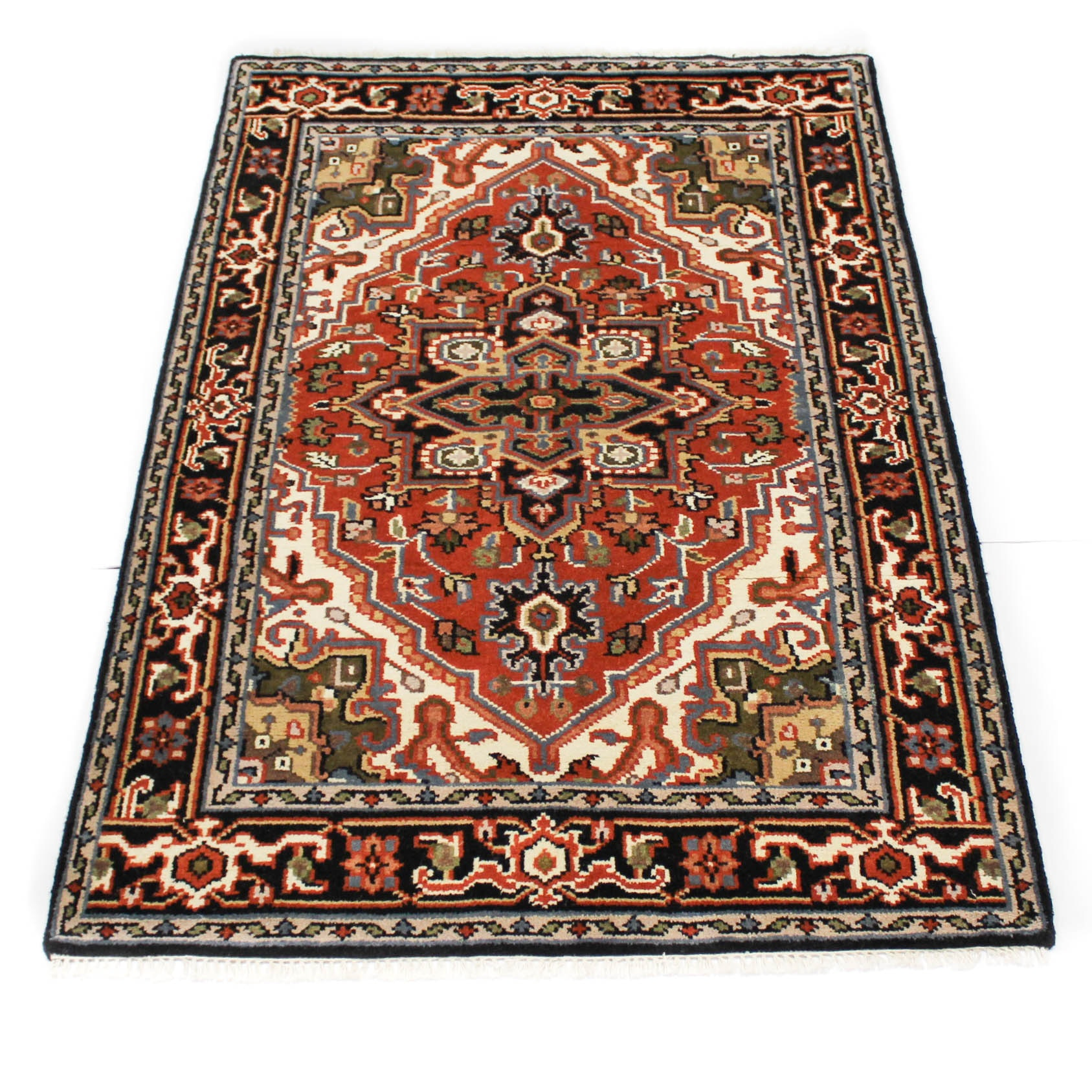 Fine Hand-Knotted Indo-Persian Heriz Rug