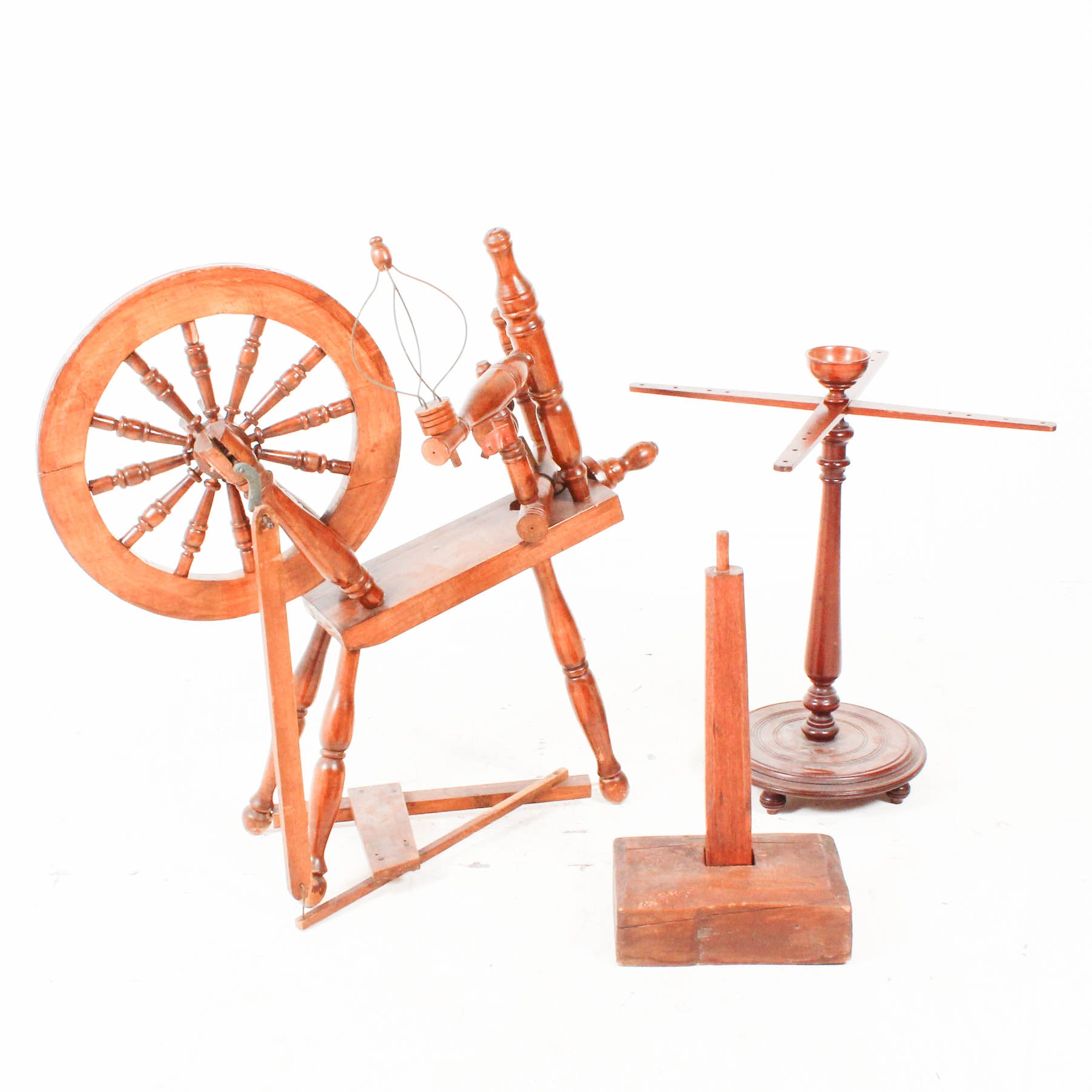 Vintage Wooden Spinning Wheel With Antique Accessories